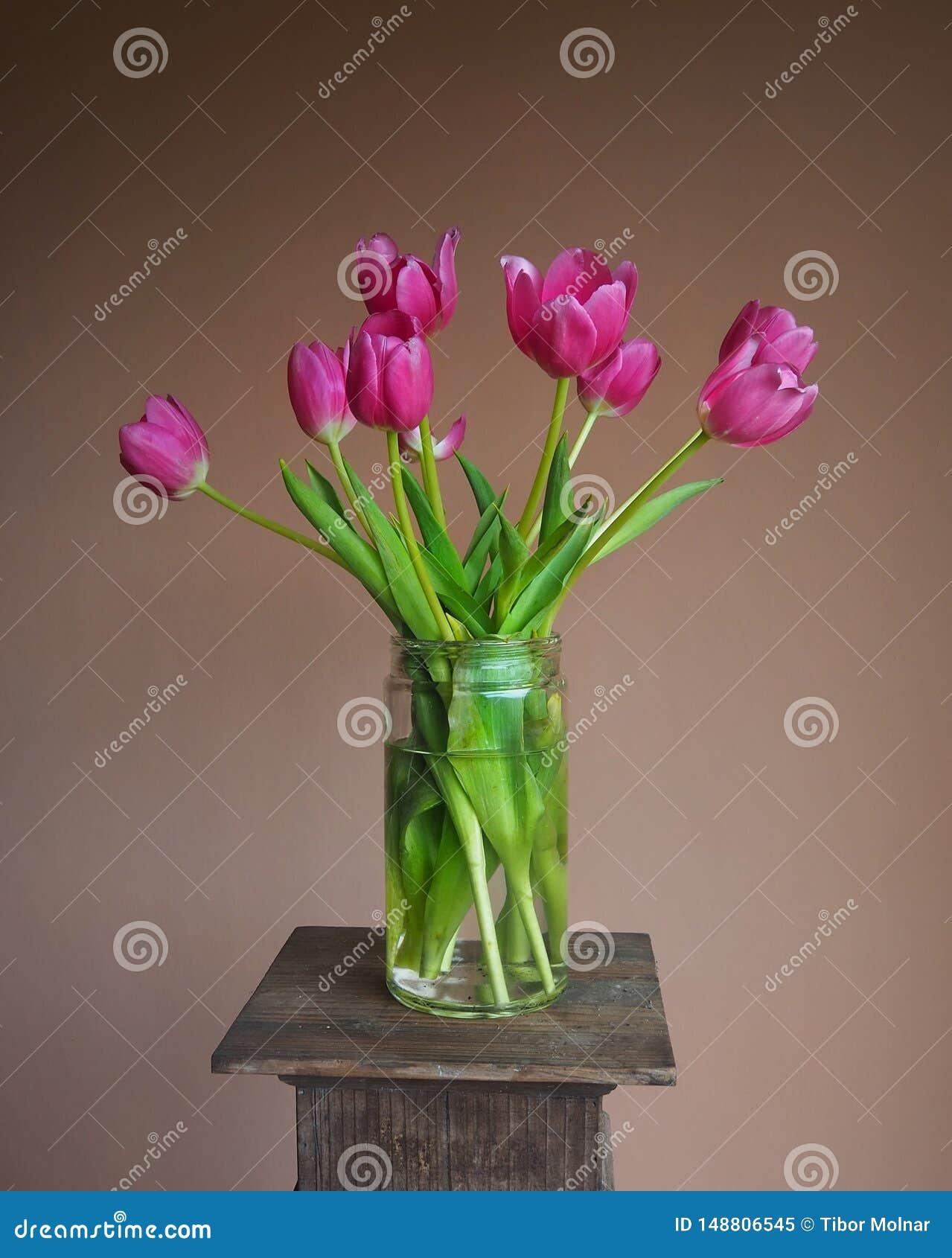 Ljus rosa tulpanbukett i en murarekrus på en sockel med terrakottabakgrund