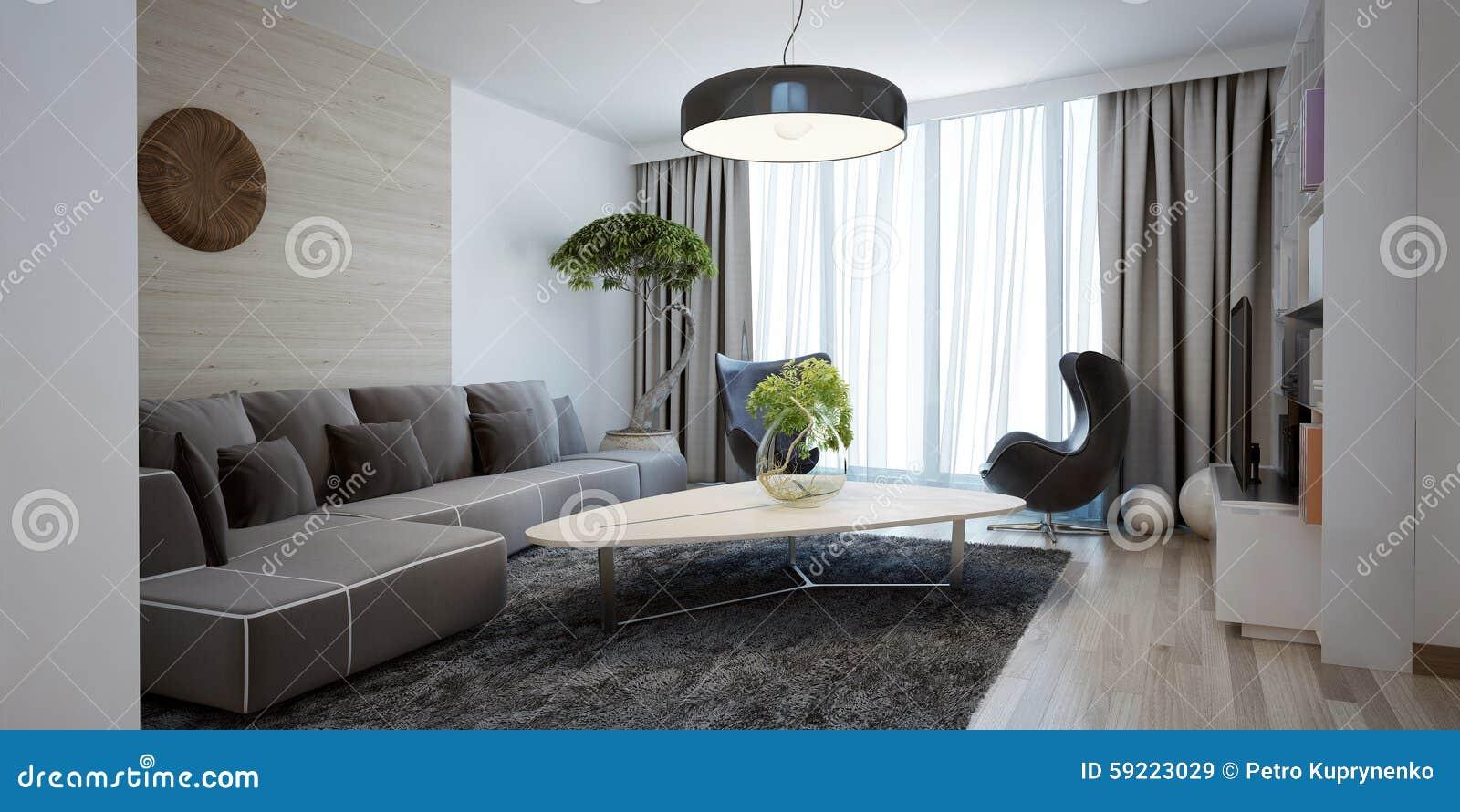 Ljus Rymlig Design Av Den Moderna Vardagsrummet Fotografering för ...