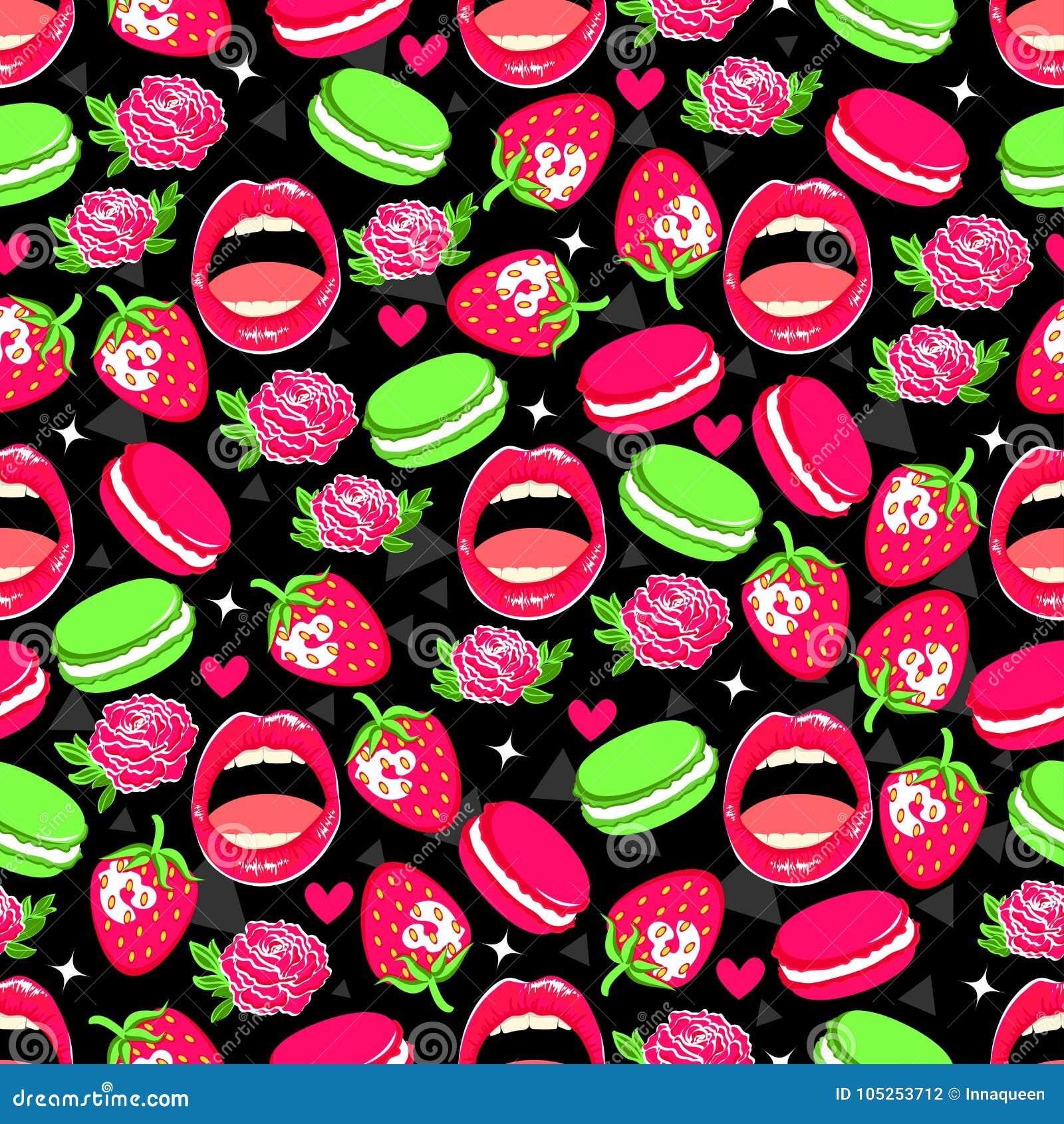 Ljus sömlös modell med rosor, jordgubben, makron, kanter och hjärtor