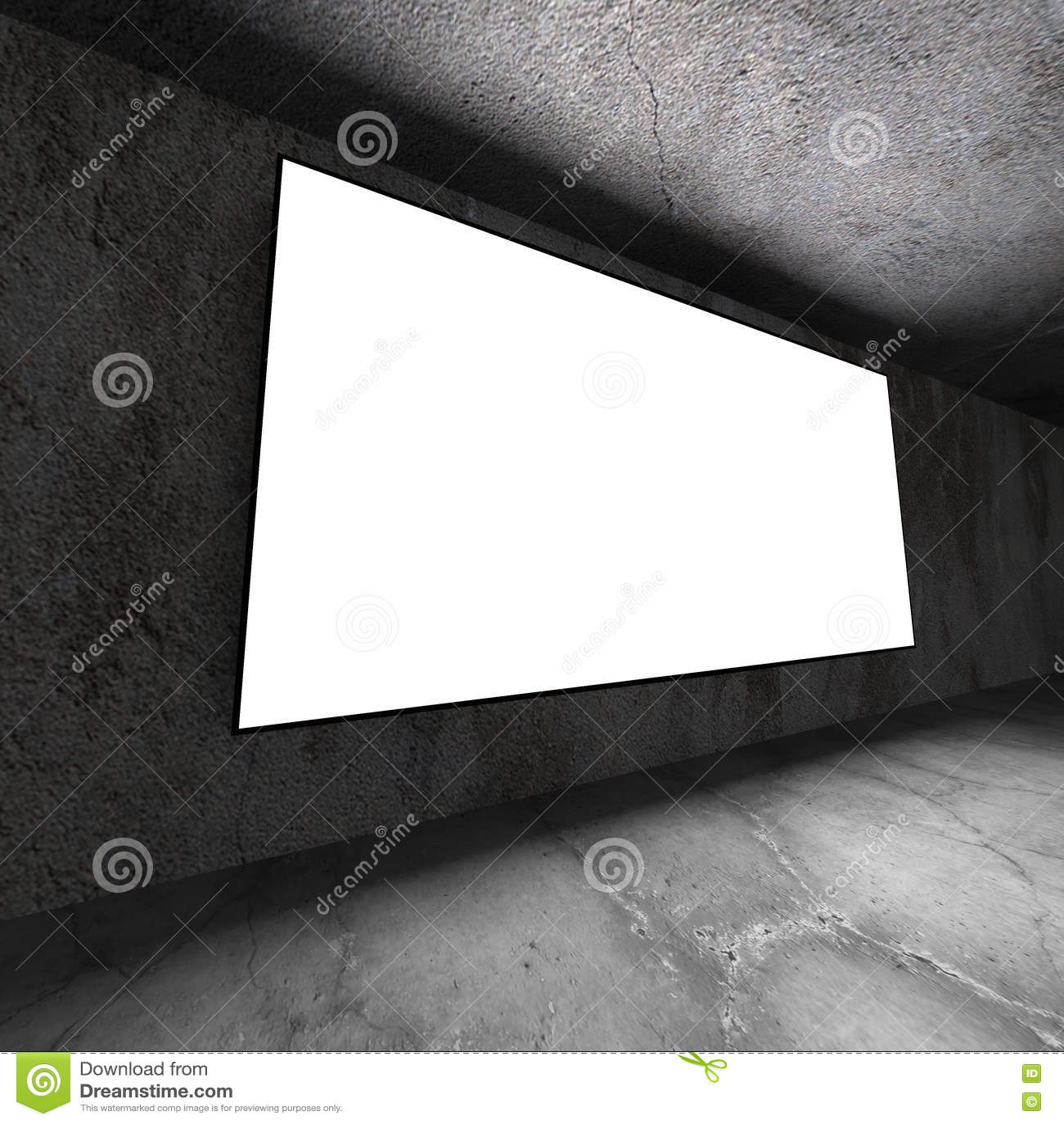 Ljus tom baneraffischtavla på betongväggen