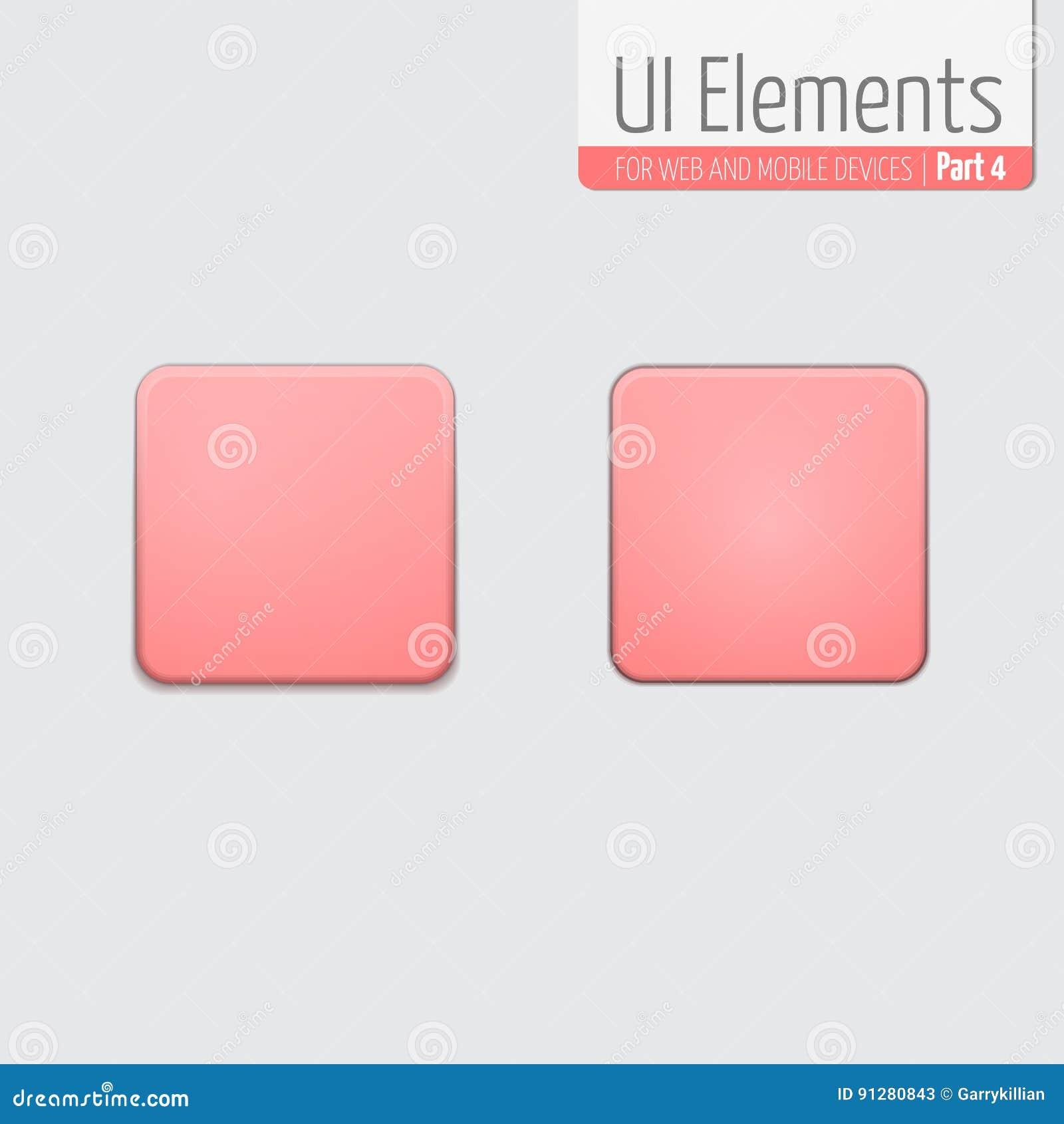 Ljus UI-beståndsdeldel 4: Fyrkantig knapp med rundade hörn UI-uppsättning I standard och skjutet tillstånd