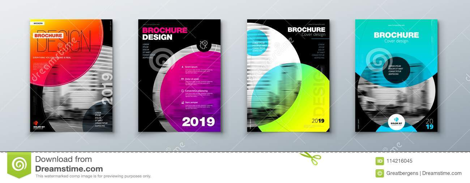 Ljus uppsättning för design för cirkelbroschyrräkning Mallorientering för årsrapport, tidskrift, katalog, reklamblad eller häfte