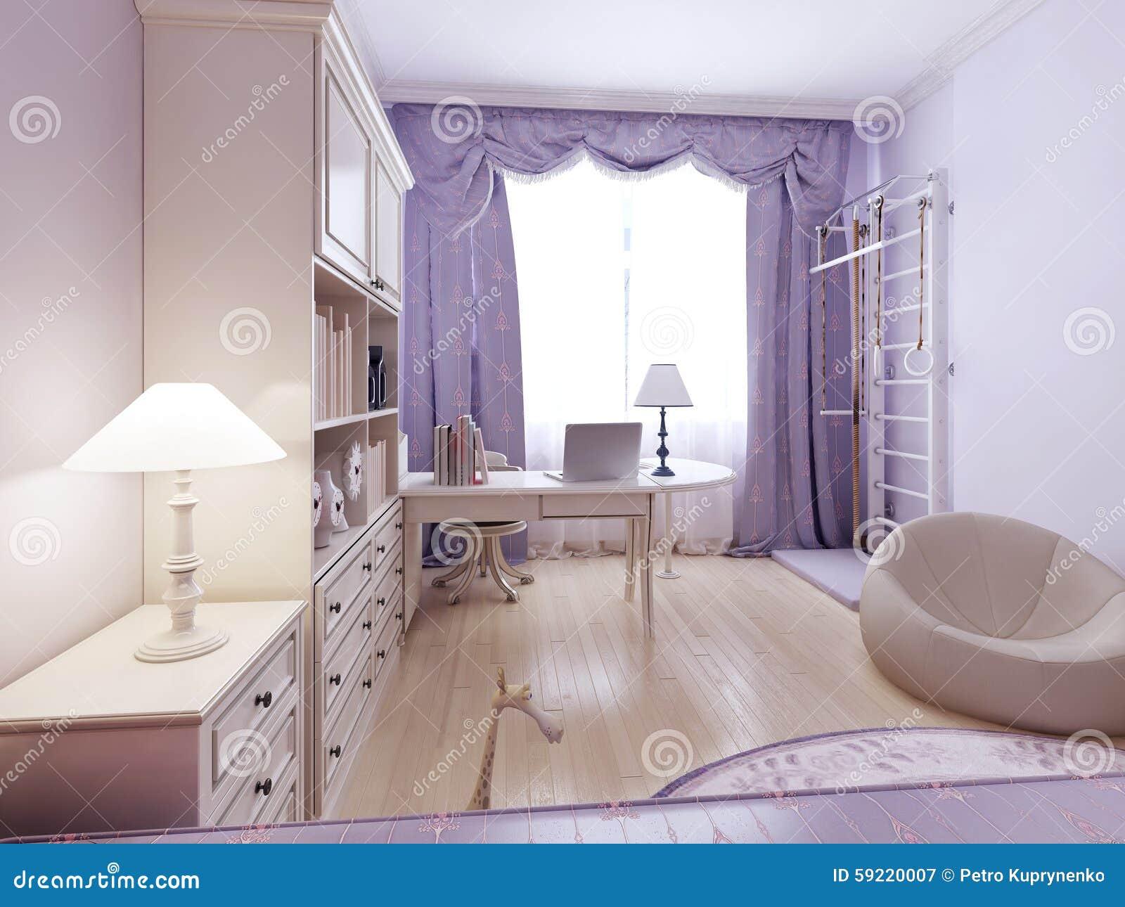 Ljus vardagsrum med ottomanen och ribbstol arkivfoto   bild: 59220007