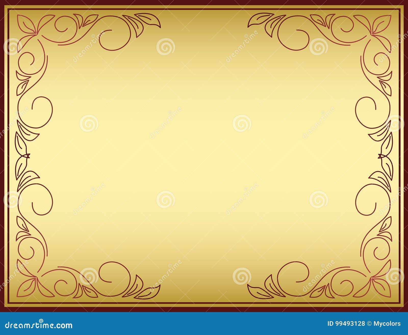 Ljus vektorram med guld- lutning