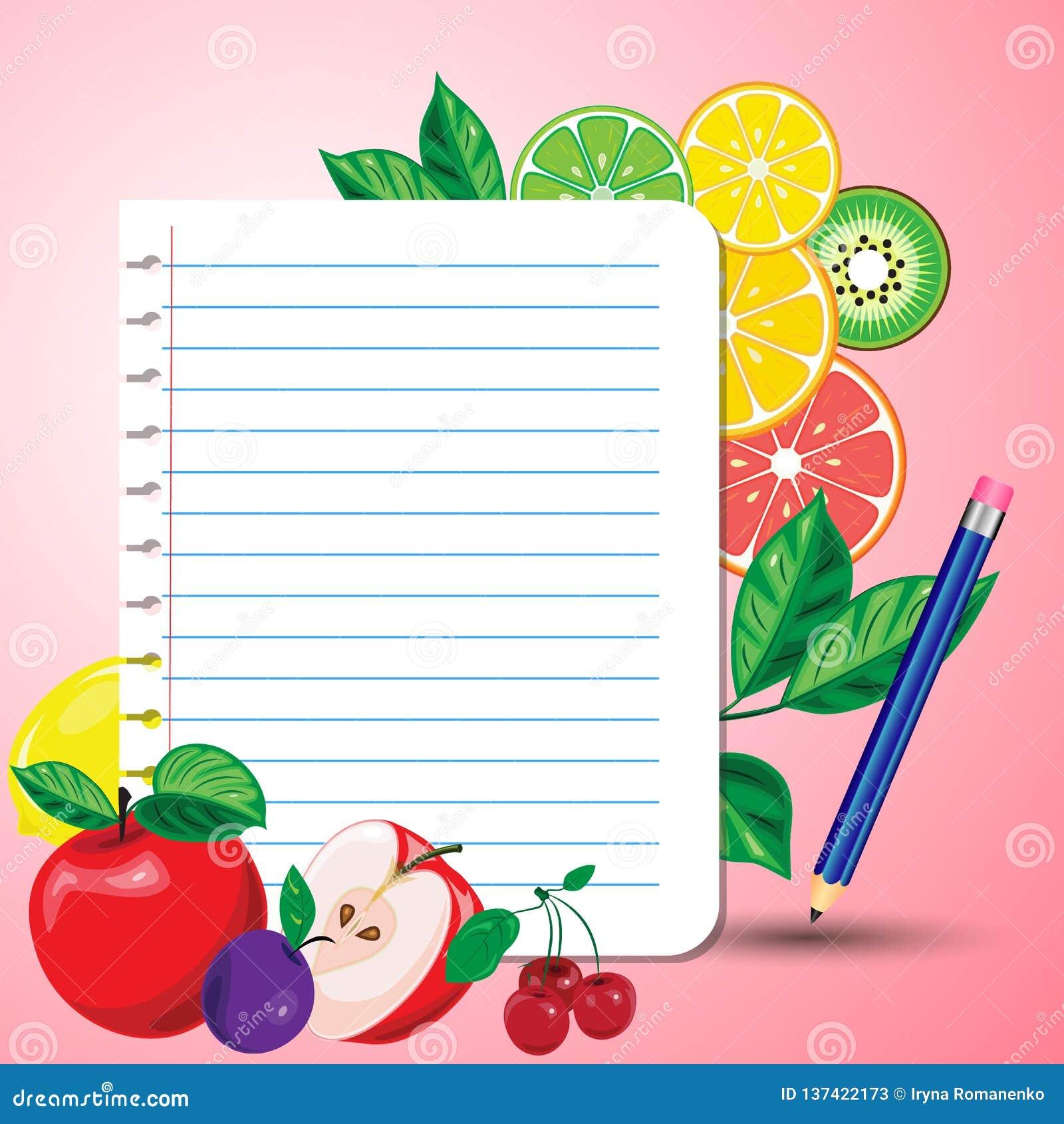 Ljusa saftiga frukter runt om ett ark av notepaden