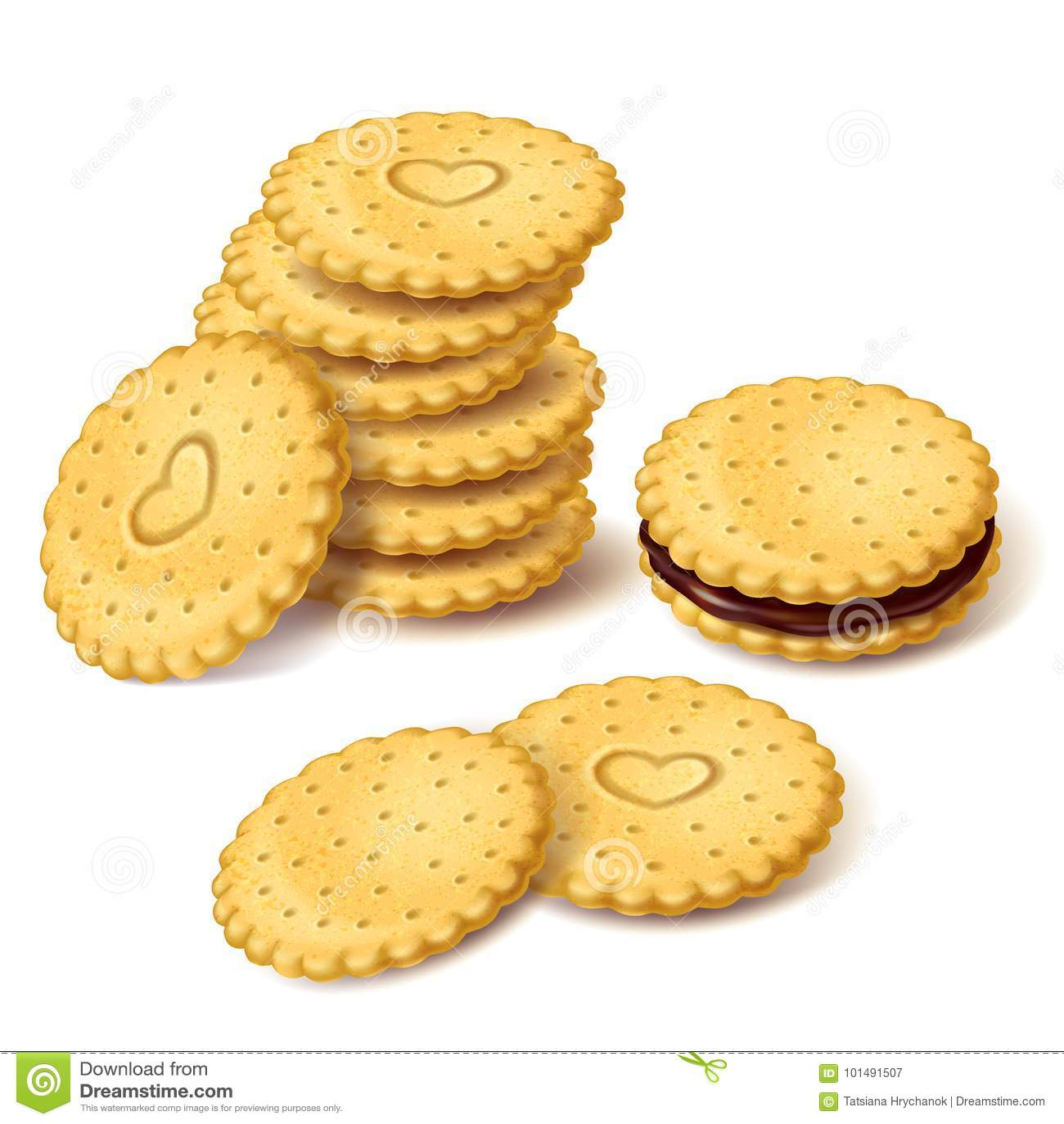 Ljusbruna kakor eller smällare med den kräm- vektorn