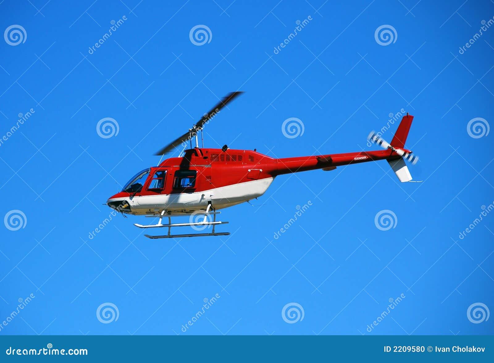 Ljusröd flyghelikopter