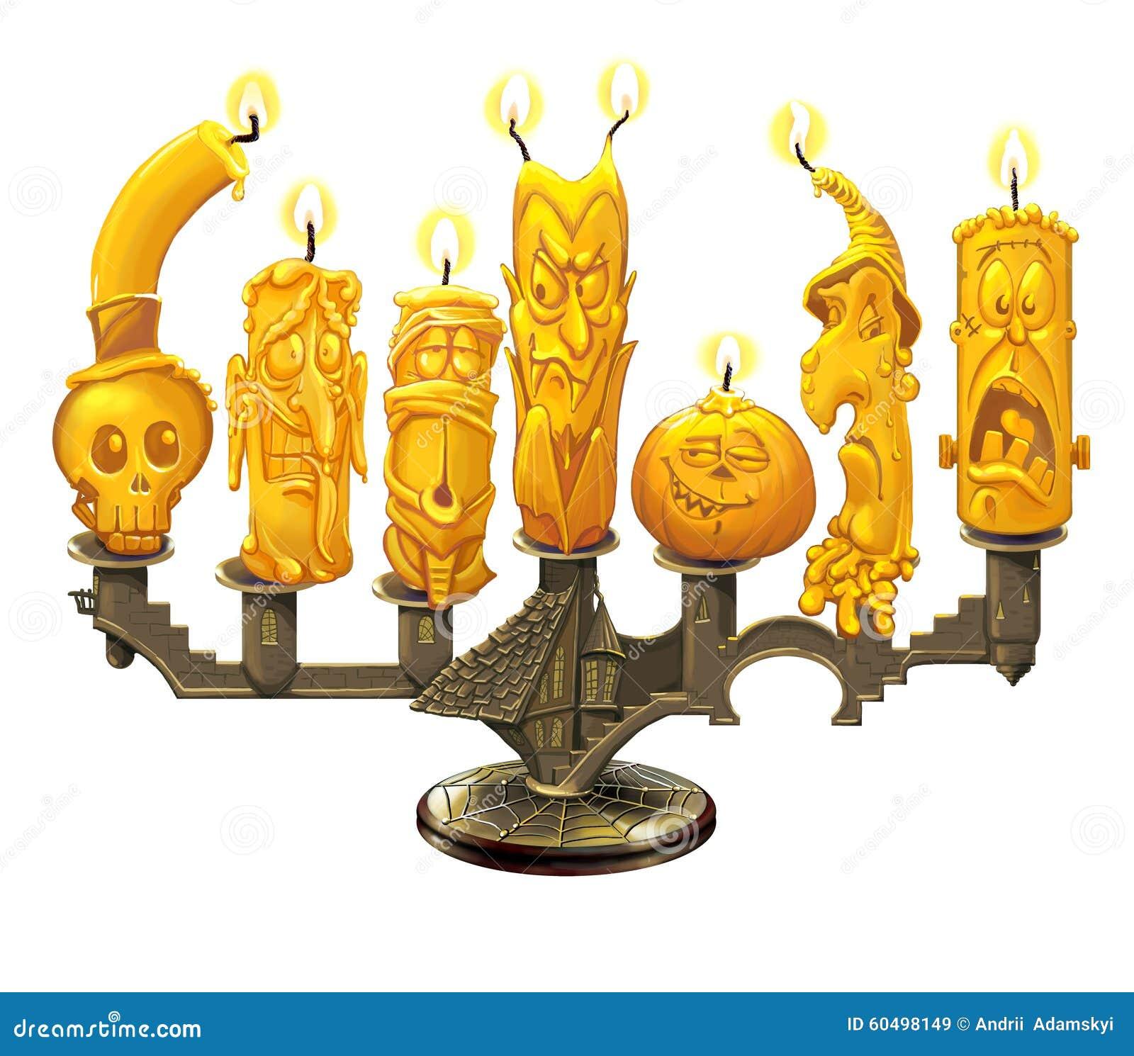 Ljusstake och stearinljus för allhelgonaafton