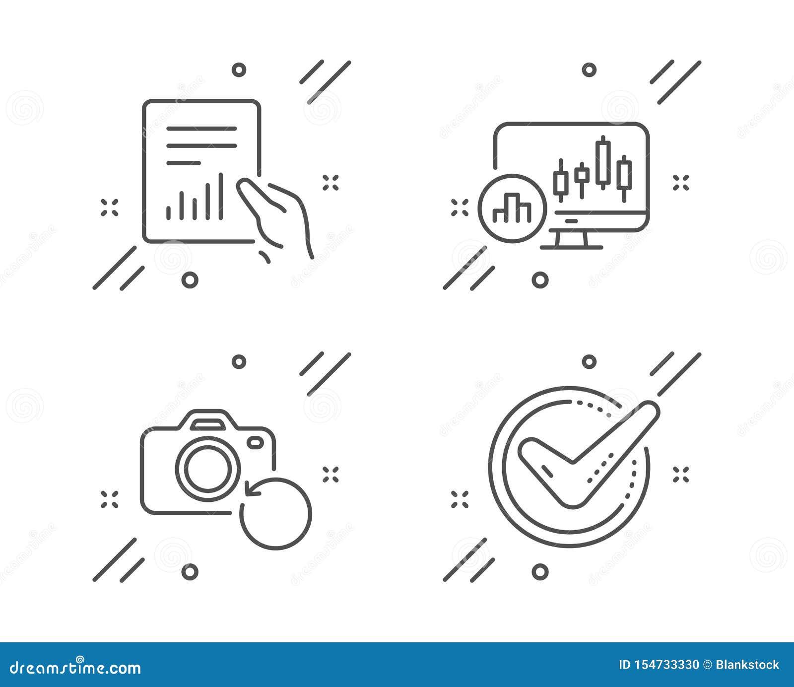 Ljusstakediagram, uppsättning för dokument- och återställningsfotosymboler Bekr?ftat tecken vektor
