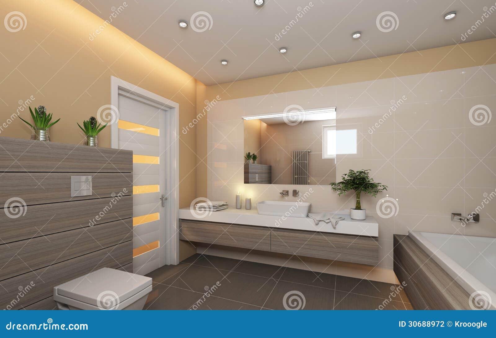 Ljust badrum med trä arkivbild   bild: 30688972