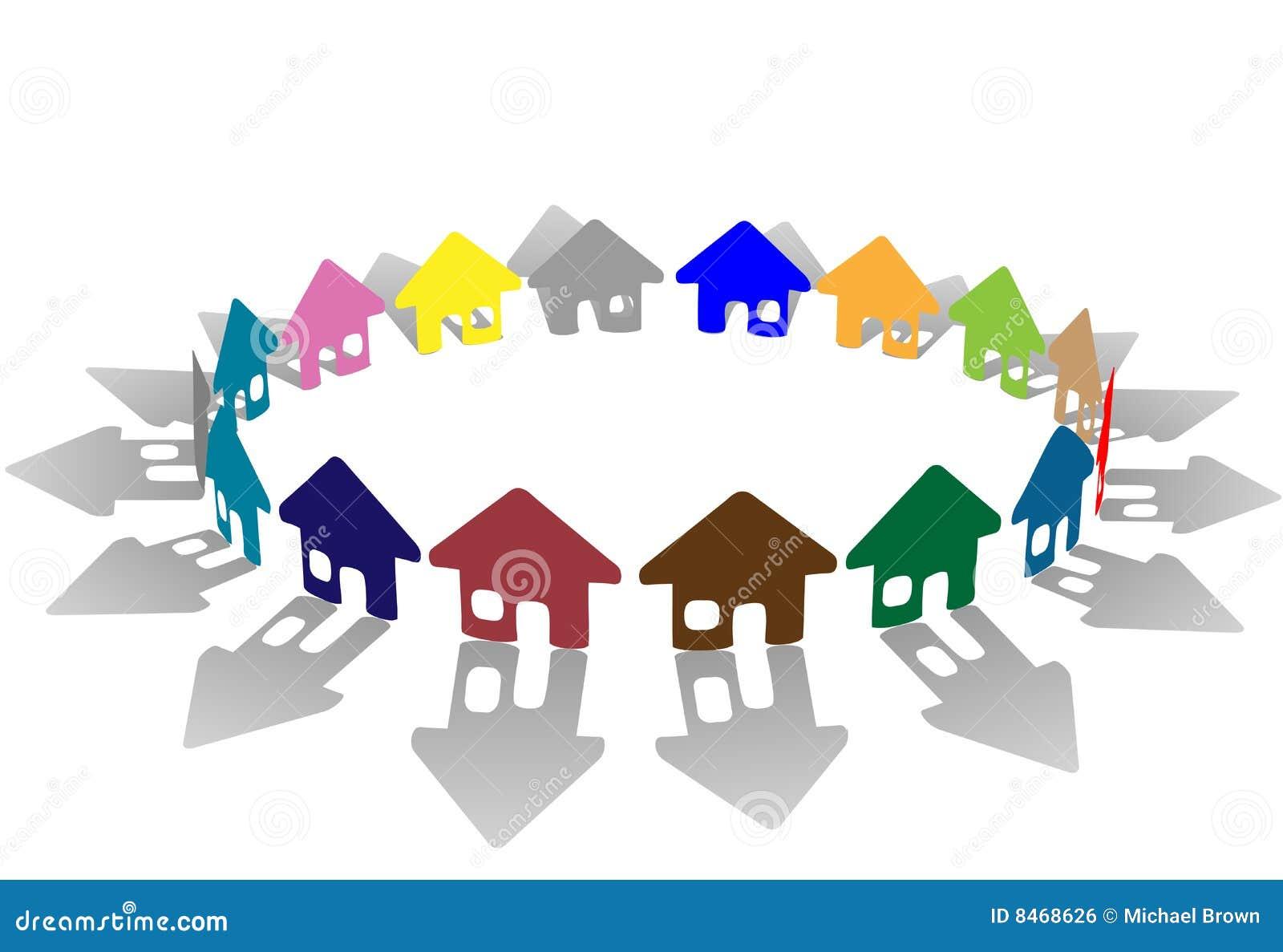 Ljust färgade huscirkelsymboler