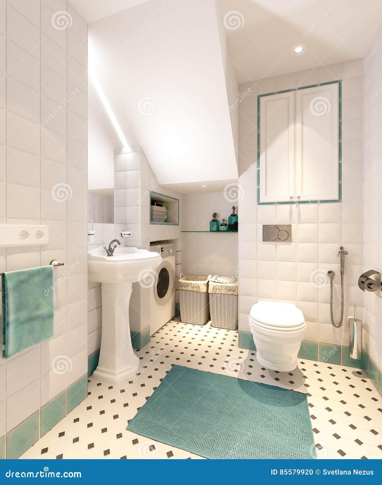 Ljust klassiskt traditionellt tvättstuga och badrum