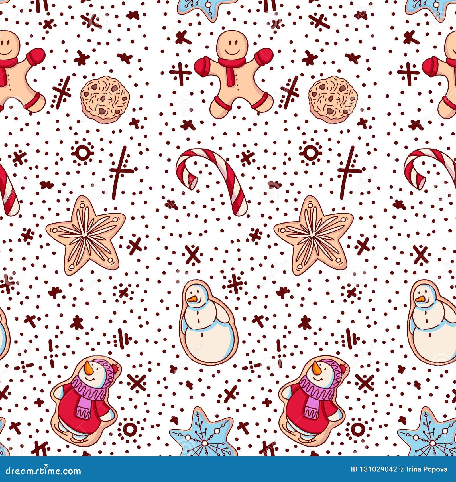 Ljust rödbrun ljusbruna julkakor med dekoren Sömlös modell med det ljust rödbrun kexet