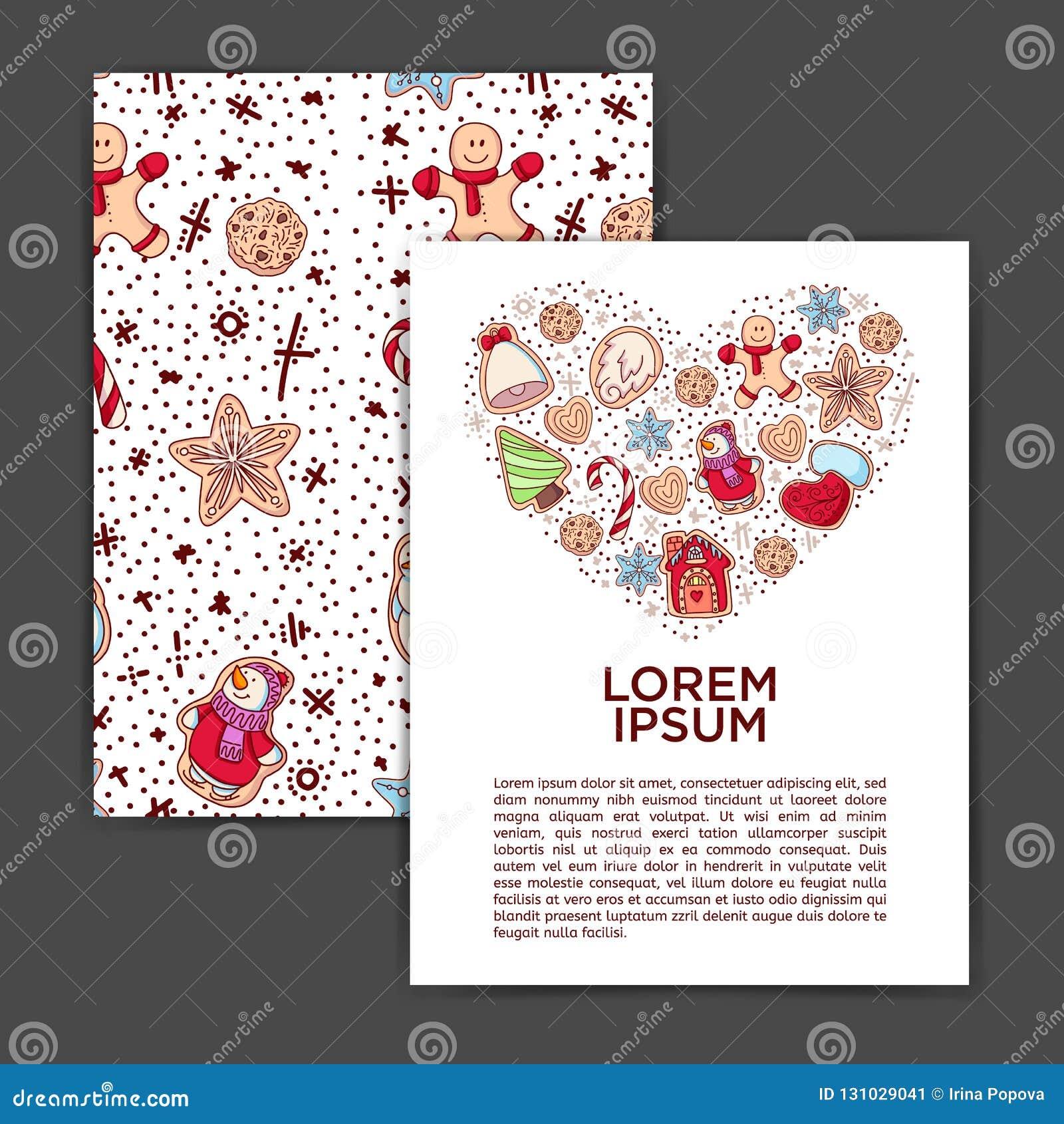 Ljust rödbrun ljusbruna julkakor med den komponerade dekoren seamless modell