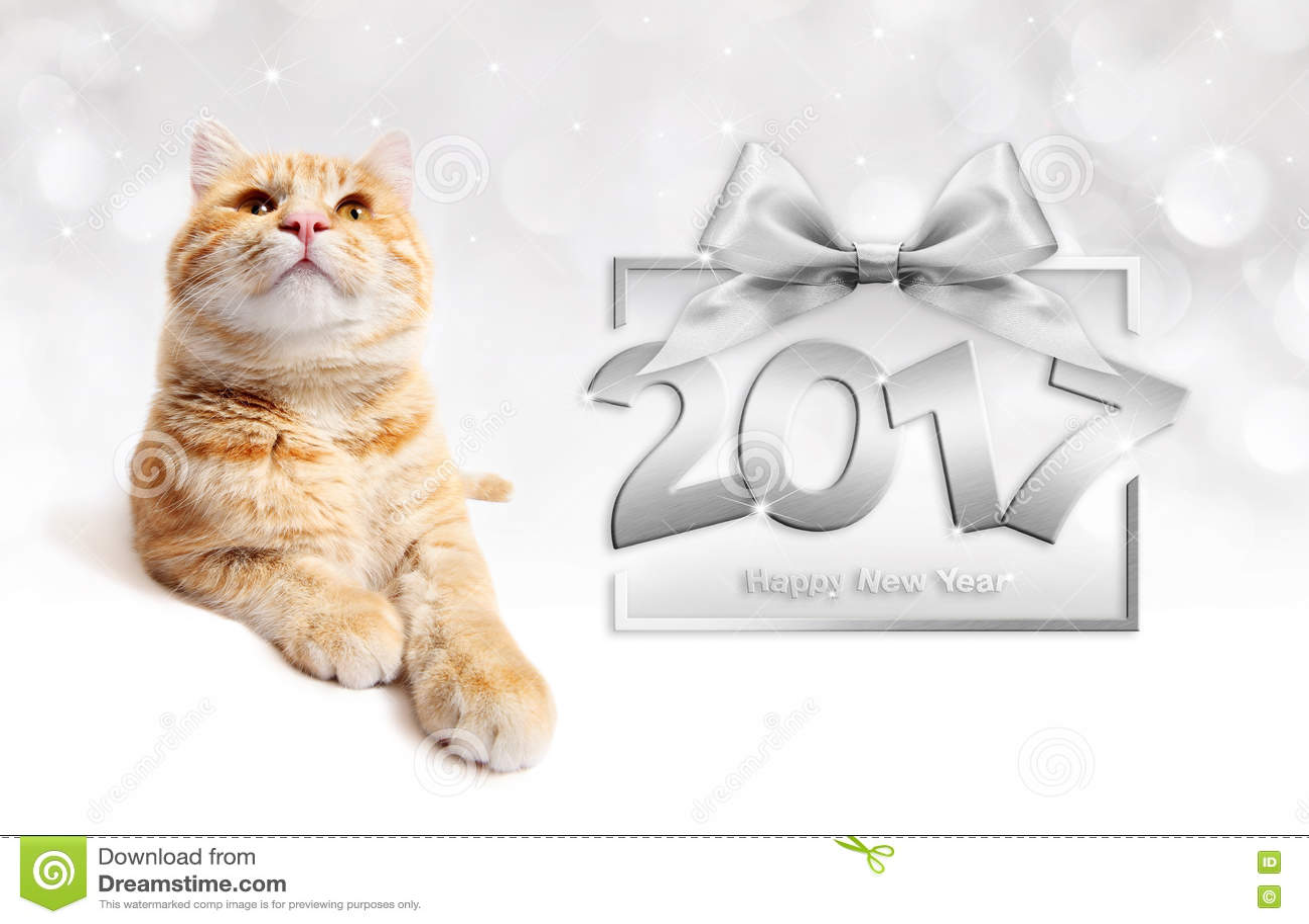 Ljust rödbrun text för lyckligt nytt år 2017 för katt och för silver med bandpilbågen