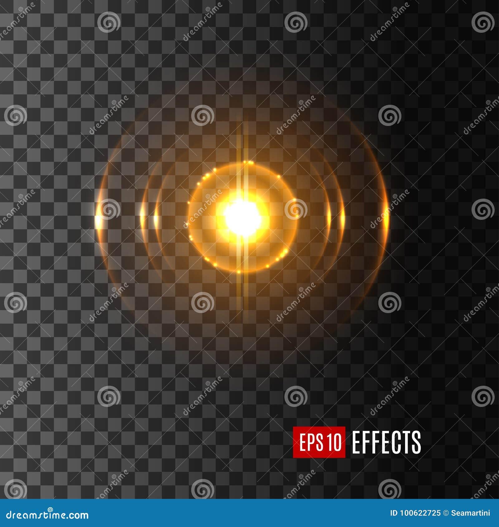 Ljust sken i prålig symbol för vektor för linssignalljuseffekt
