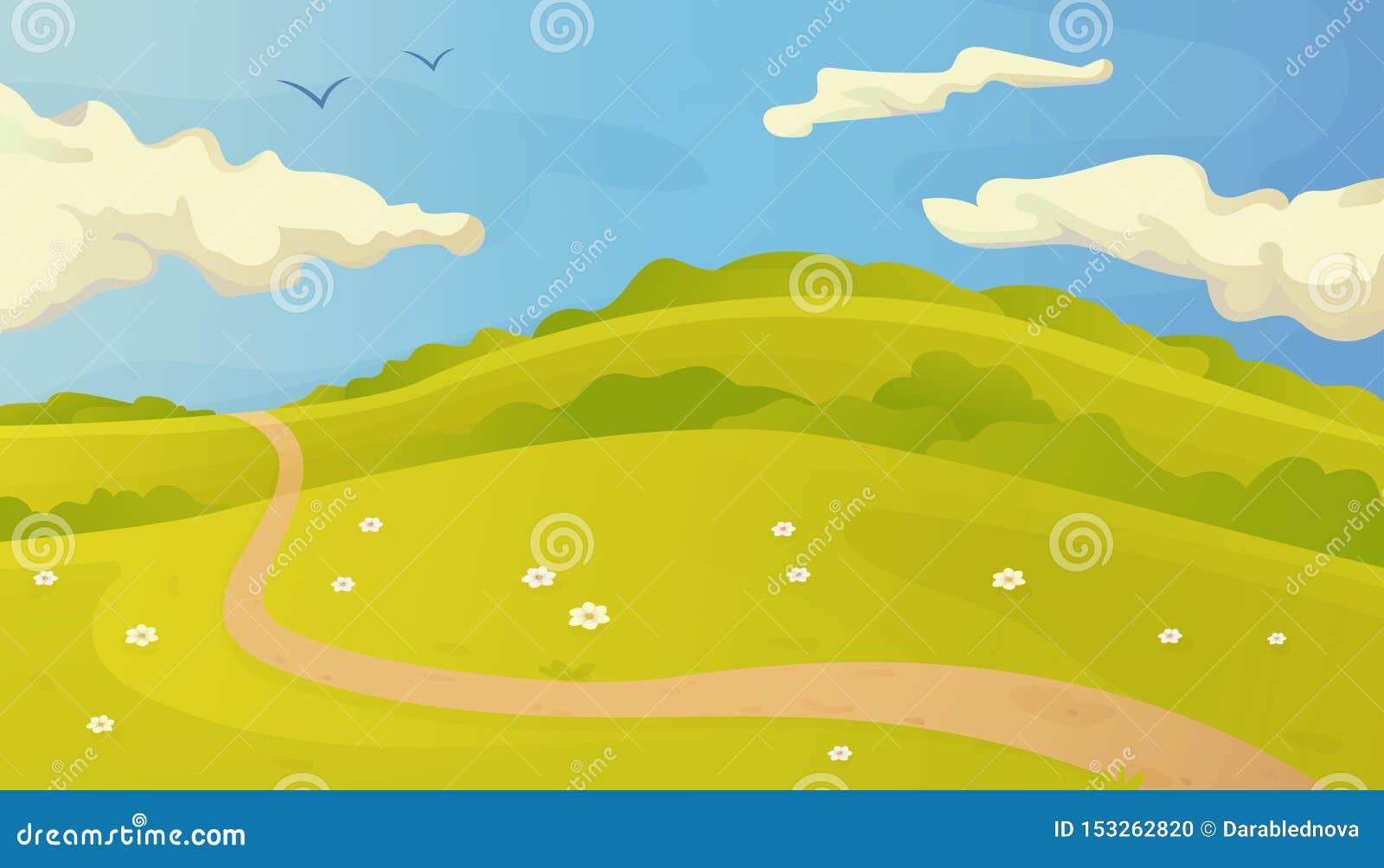 Ljust sommarvektorlandskap med slingan i gräset och molnen på blå himmel