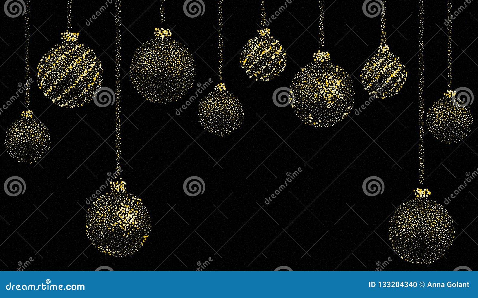 Ljuv jul, jultapet med bollar som bildas av guld- damm på en svart bakgrund också vektor för coreldrawillustration