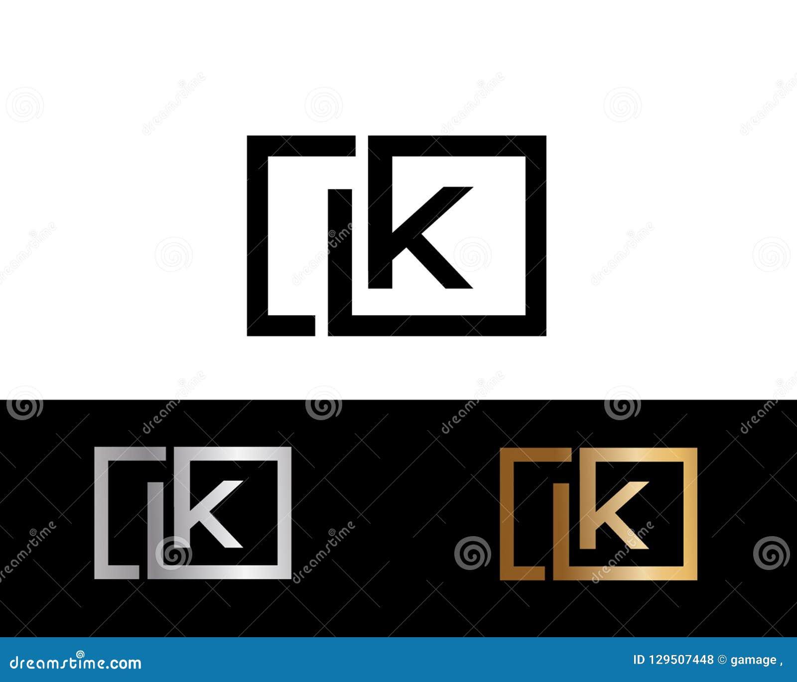 LK quadrieren Form Buchstabe-Logo Design in der silbernen Goldfarbe