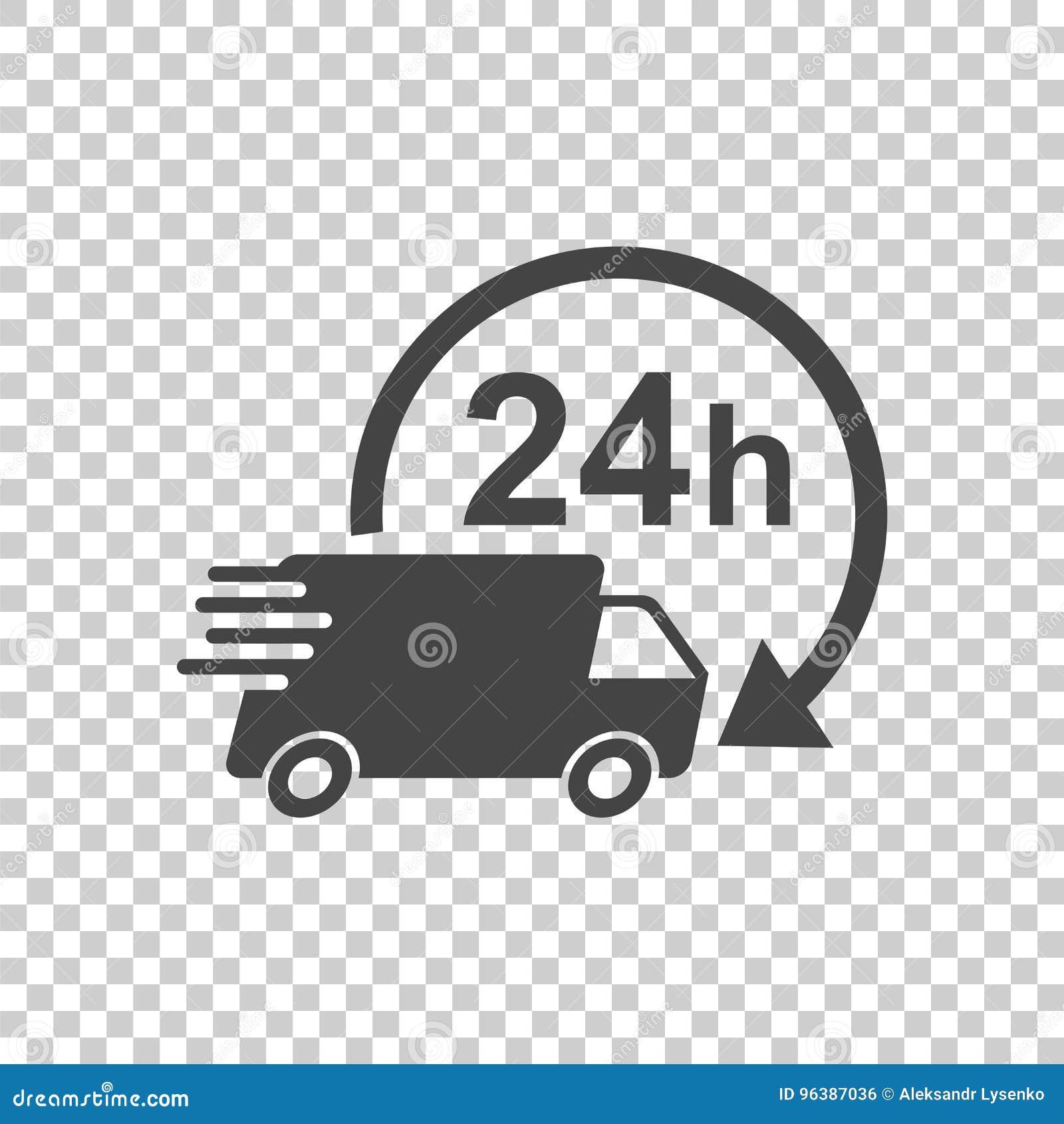 lkw der lieferung 24h mit uhrvektorillustration 24 stunden fasten vektor abbildung. Black Bedroom Furniture Sets. Home Design Ideas