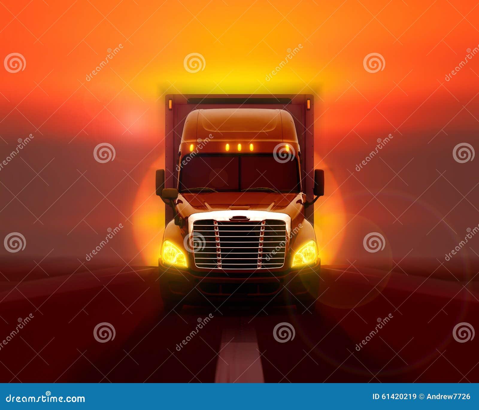 LKW Freightliner Kolumbien, der sich schnell auf der Straße verschiebt