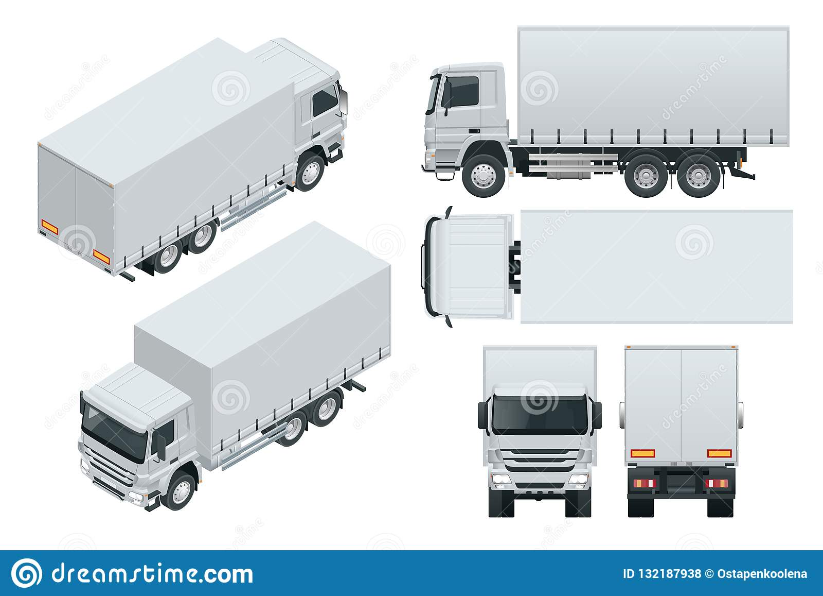 LKW-Lieferung, Lastwagenmodell lokalisierte Schablone auf weißem Hintergrund Isometrische, Seiten-, vordere, hintere, Draufsicht