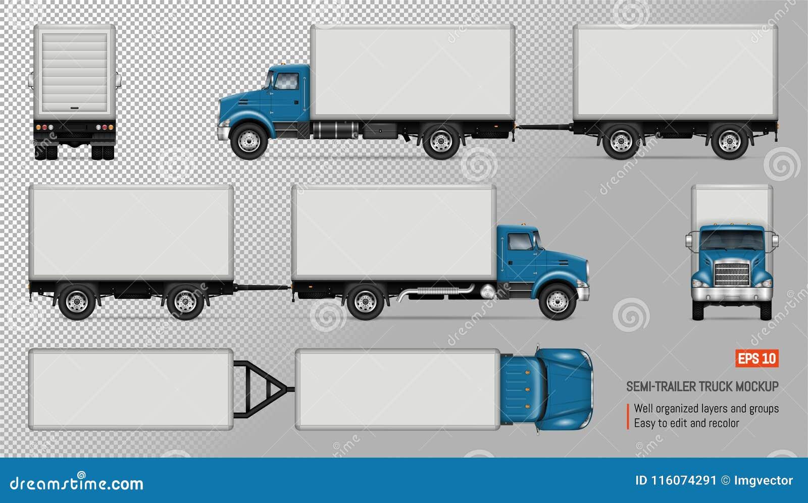 LKW Mit Anhängervektormodell Vektor Abbildung - Illustration von ...