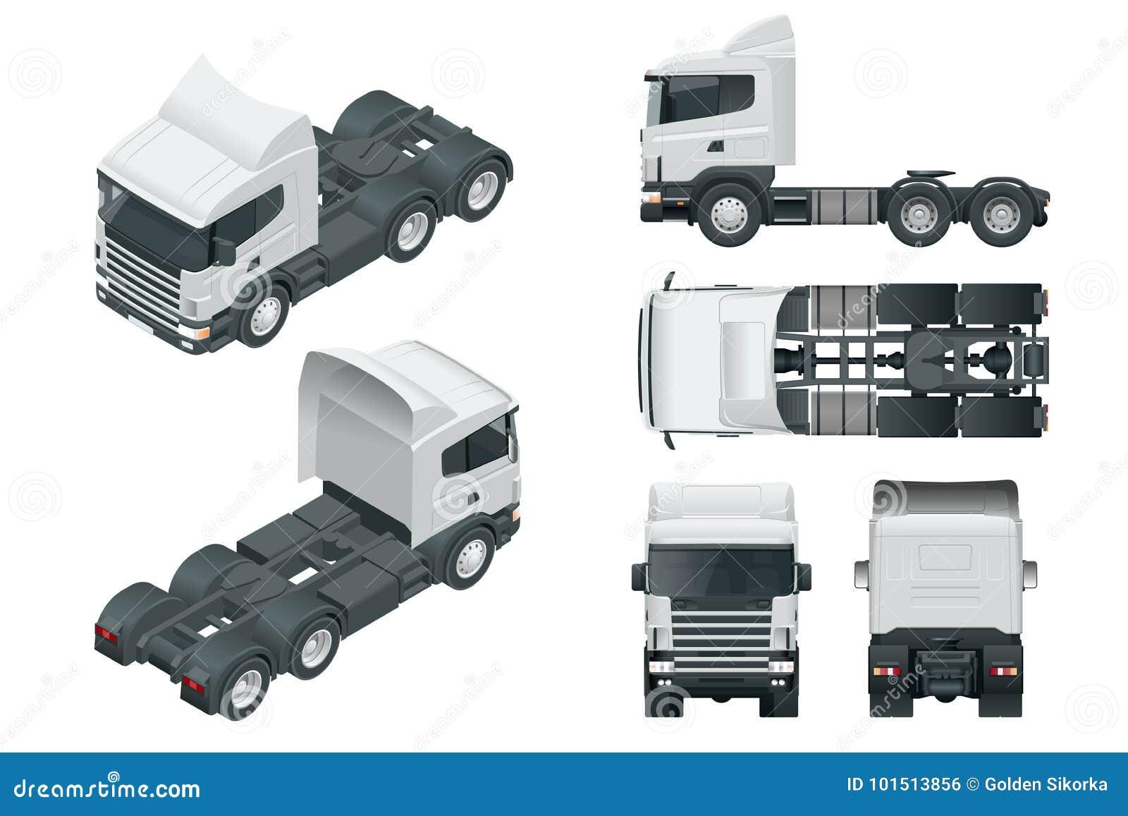 LKW-Traktor oder Sattelschlepper-LKW Sehen Sie die vordere, hintere, Seiten-, Spitzen- und isometry Front an, hinter Fracht, die
