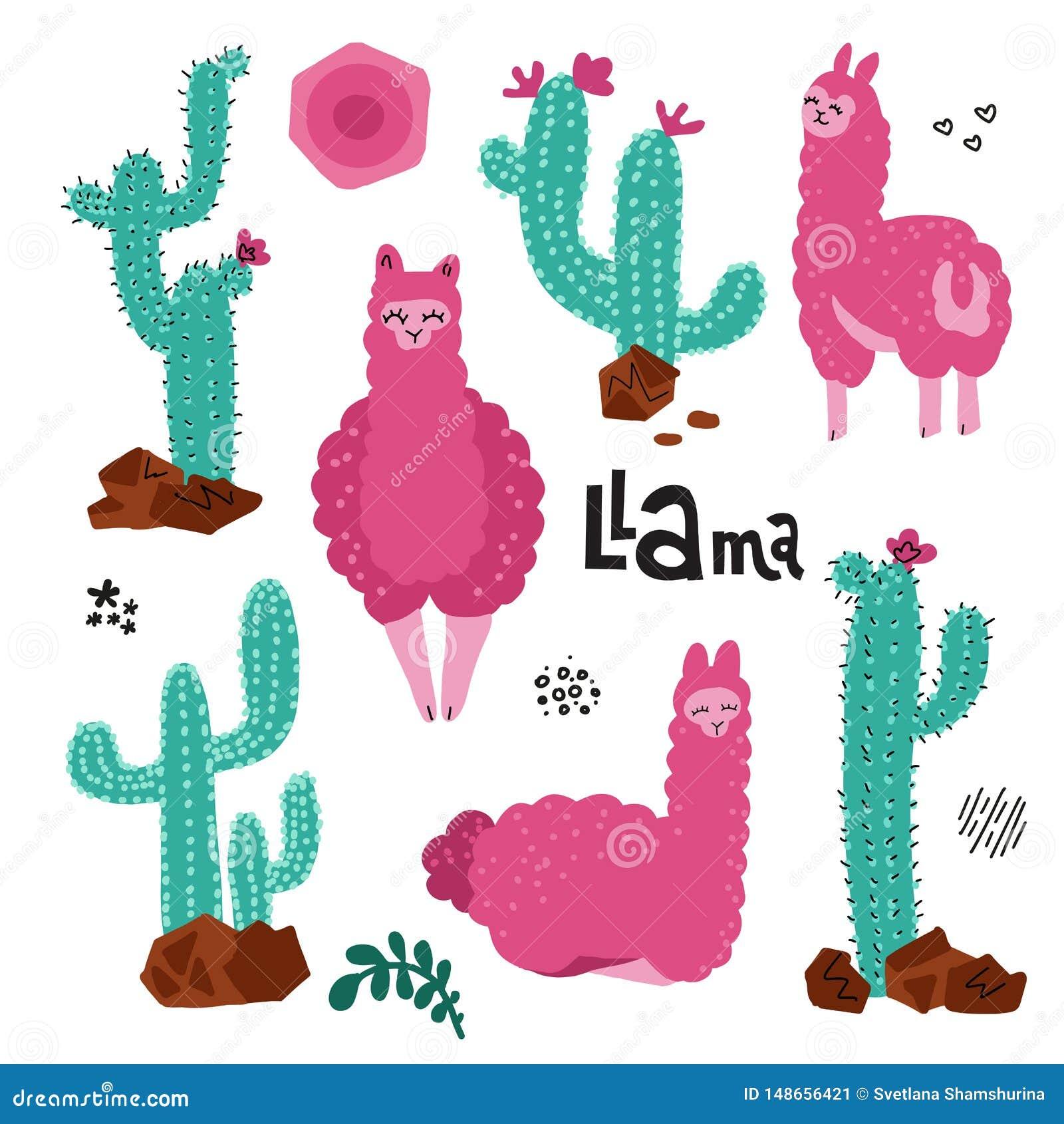 Llama που τίθεται χαριτωμένο για το σχέδιο Προβατοκάμηλοι δέντρων με πολλούς παιδαριώδης τυπωμένη ύλη εγκαταστάσεων κάκτων για τι
