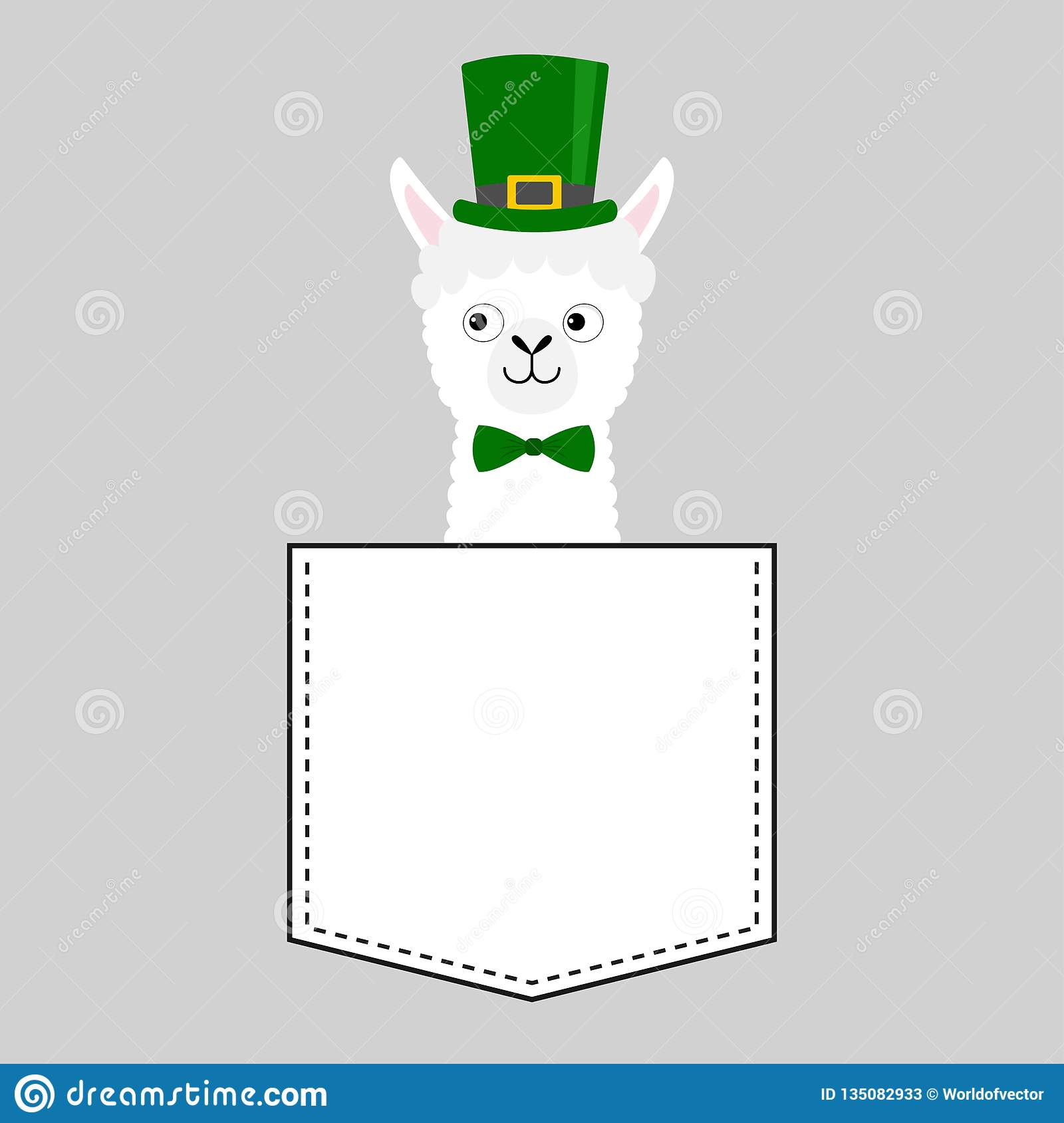 Llama alpaca face head in the pocket. Green hat Patrick day. Cute cartoon animals. Kawaii character. Dash line. White and black