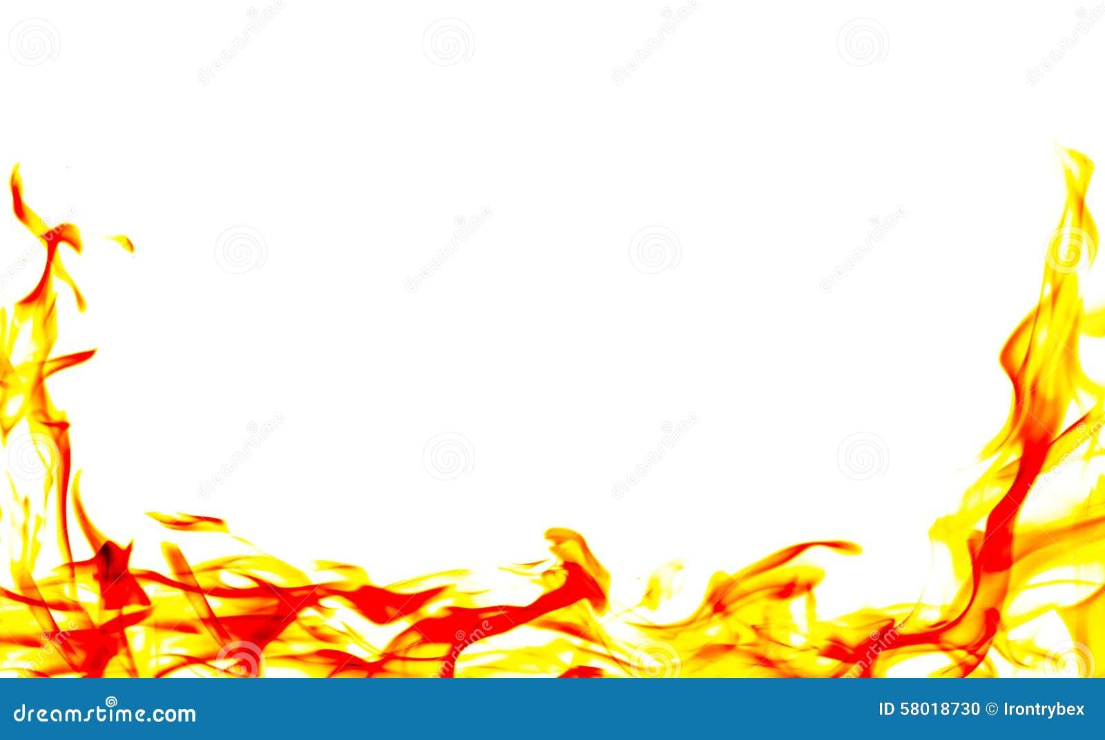 Marco Ardiente De La Llama Del Fuego En El Fondo Blanco