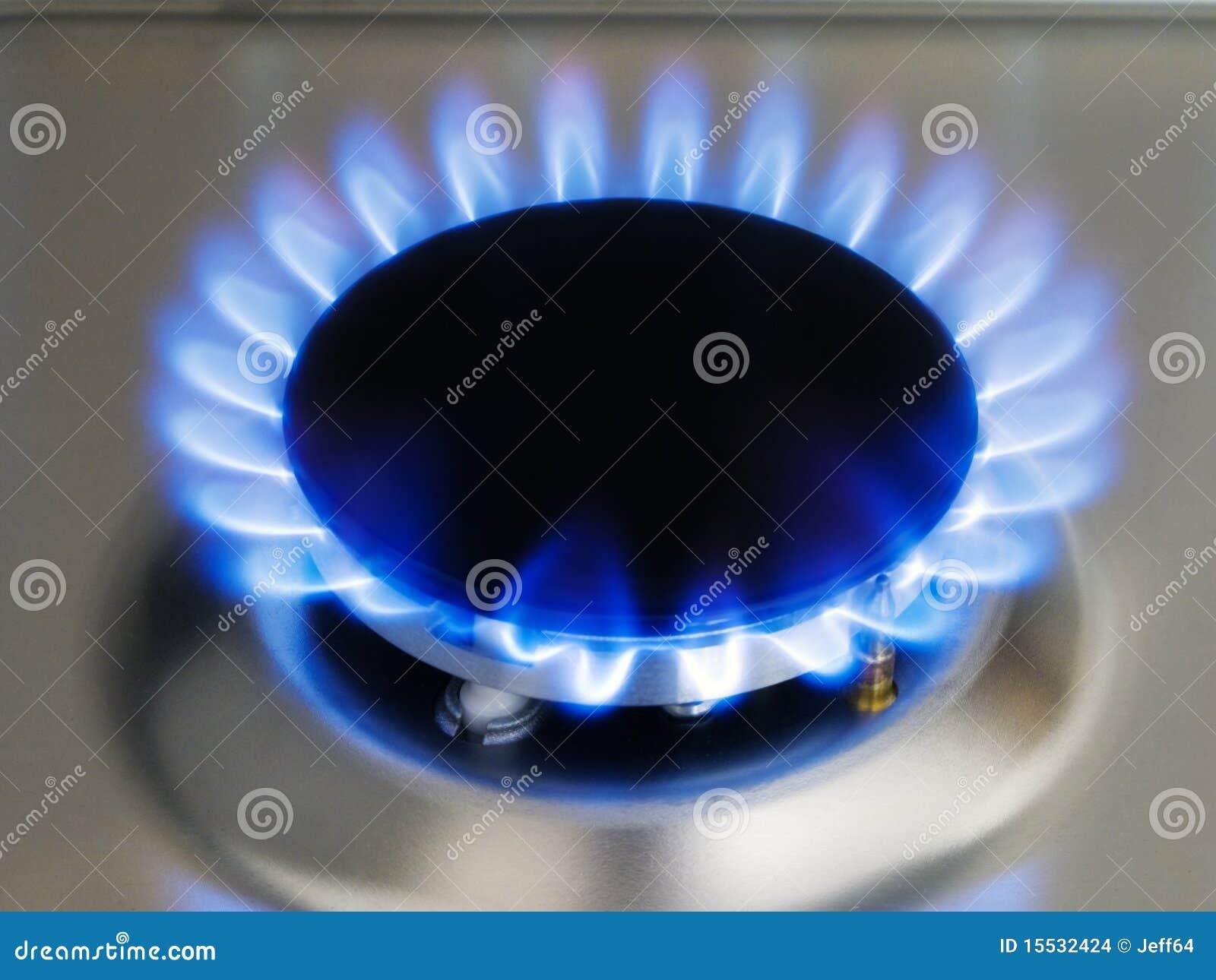 Llama azul de la cocina en una hornilla foto de archivo for Llama en la cocina