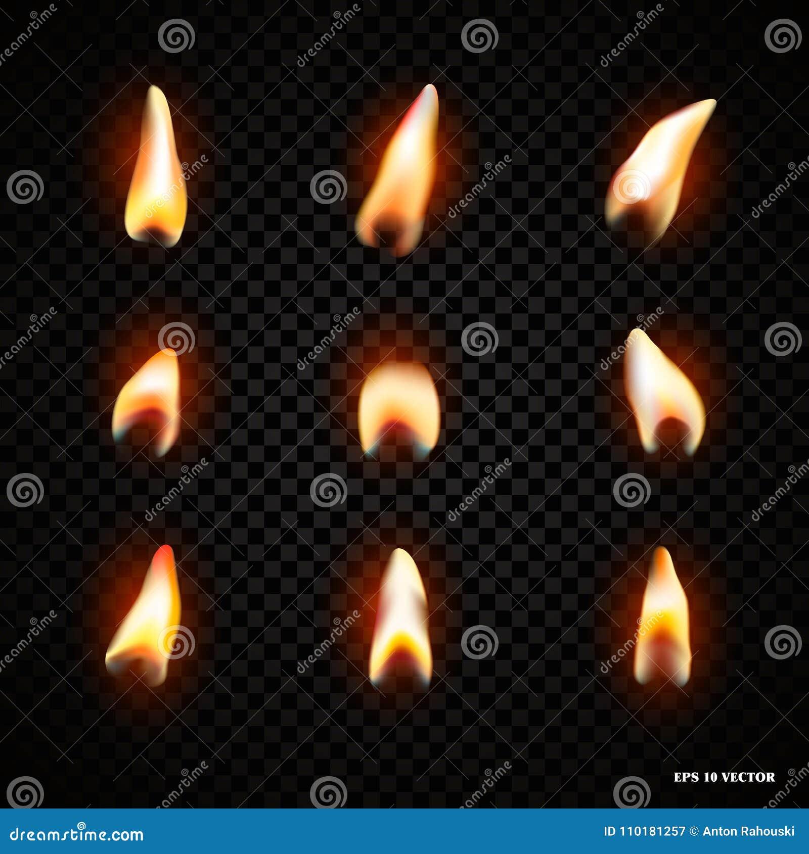 Llama Del Fuego De La Vela Aislada Decoración Brillante De La ...
