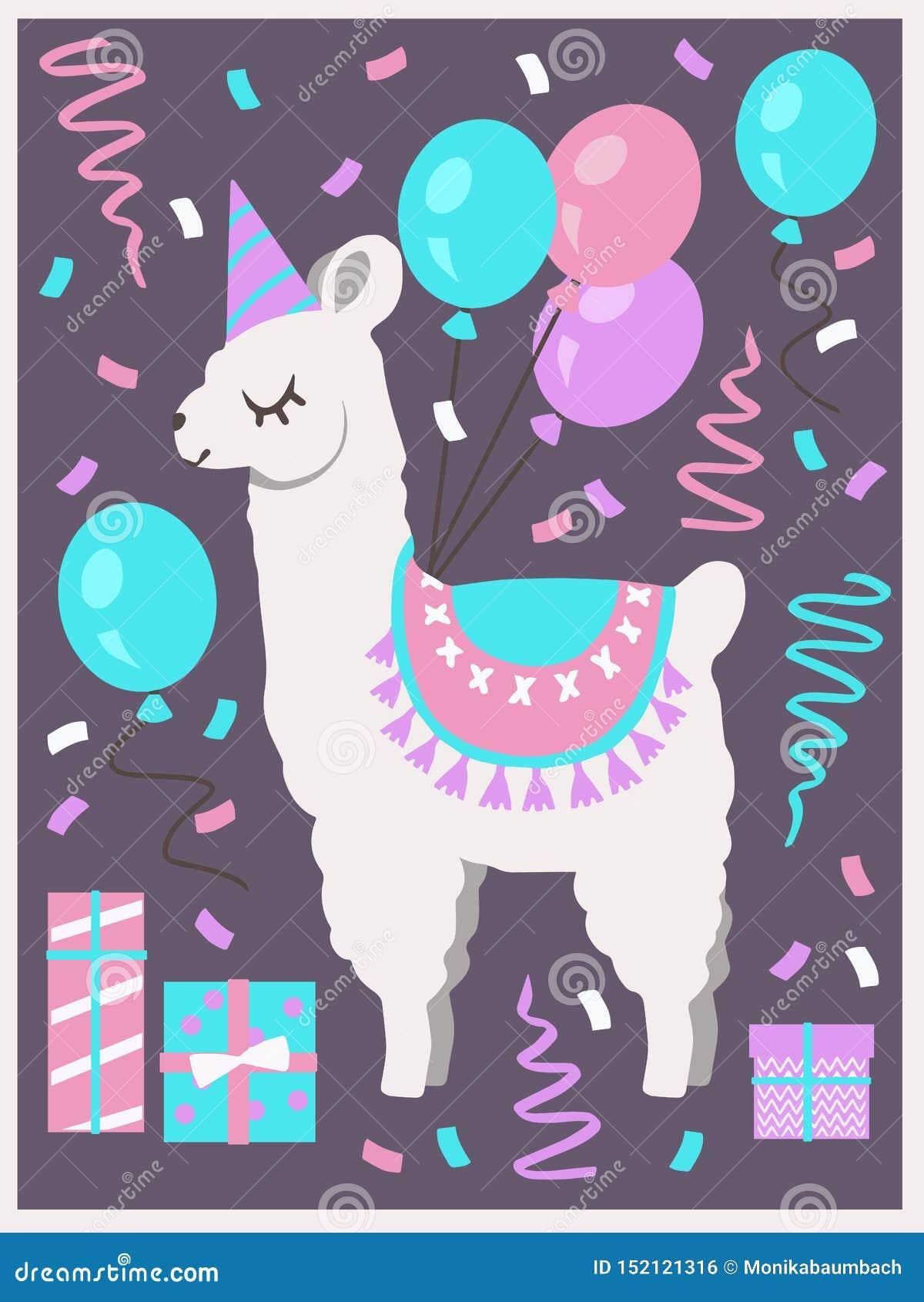 Llama o alpaca blanca linda con el sombrero del partido, las cajas de regalo, los globos y la tarjeta de felicitación del cumplea