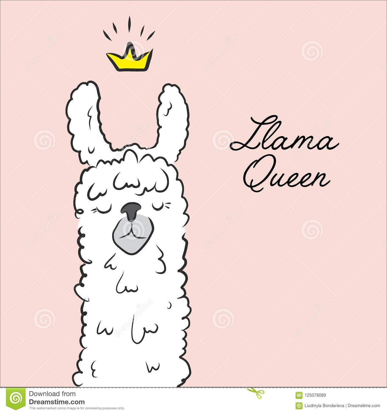 Llama Queen Drawing Animal Cute Cartoon Alpaca With Crown Illustration Cartoon Kids Character Cool Slogan Text Stock Vector Illustration Of Element Clothe 125078089 Princess crown background vector illustration. https www dreamstime com llama queen drawing animal cute cartoon alpaca crown illustration kids character cool slogan text image125078089