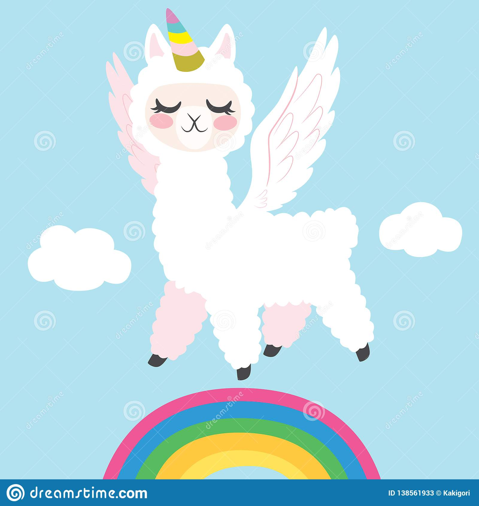 Llama Unicorn Flying