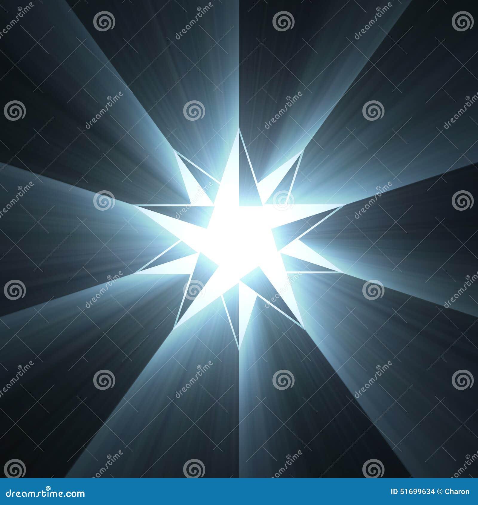 Llamarada de la luz de la estrella del compás de ocho puntos