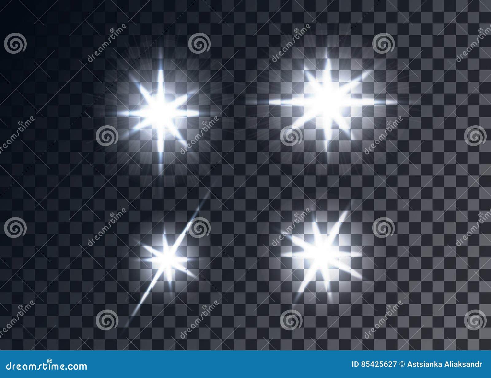 Llamaradas ópticas, fondo transparente
