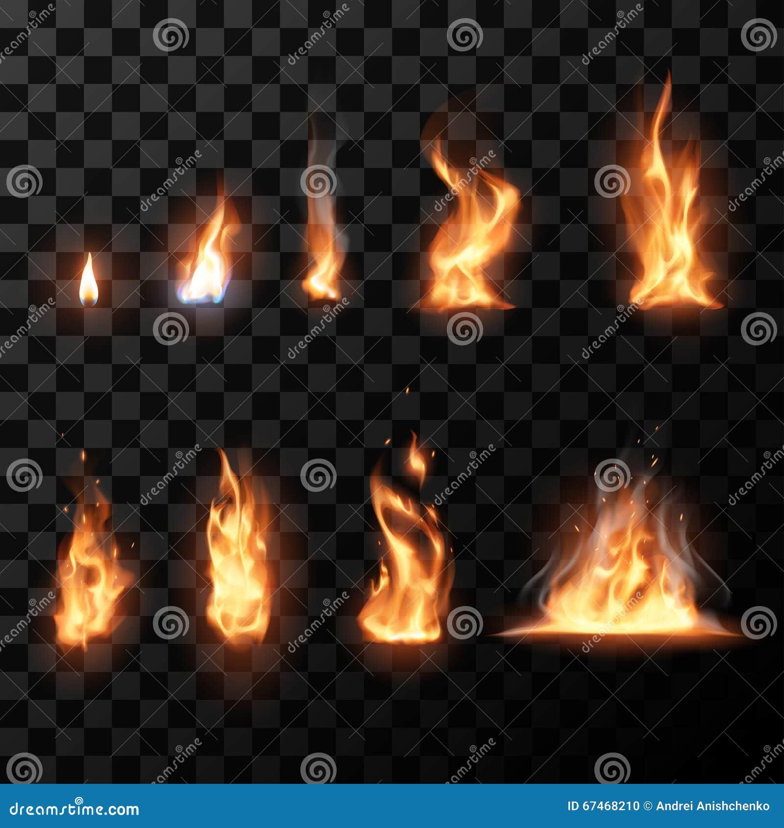 Llamas realistas del fuego fijadas