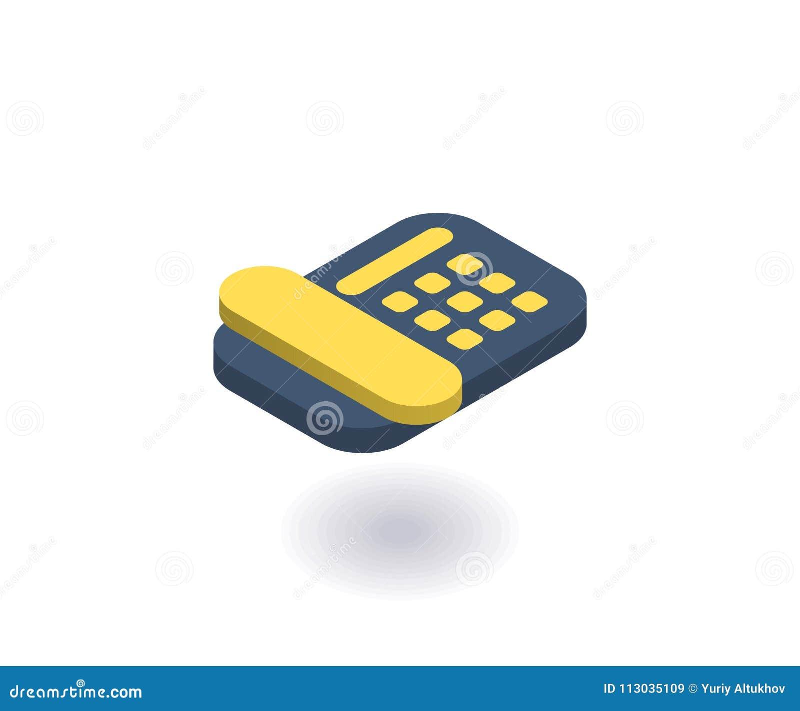 Llame por teléfono al icono, ejemplo del vector en el estilo isométrico plano 3D