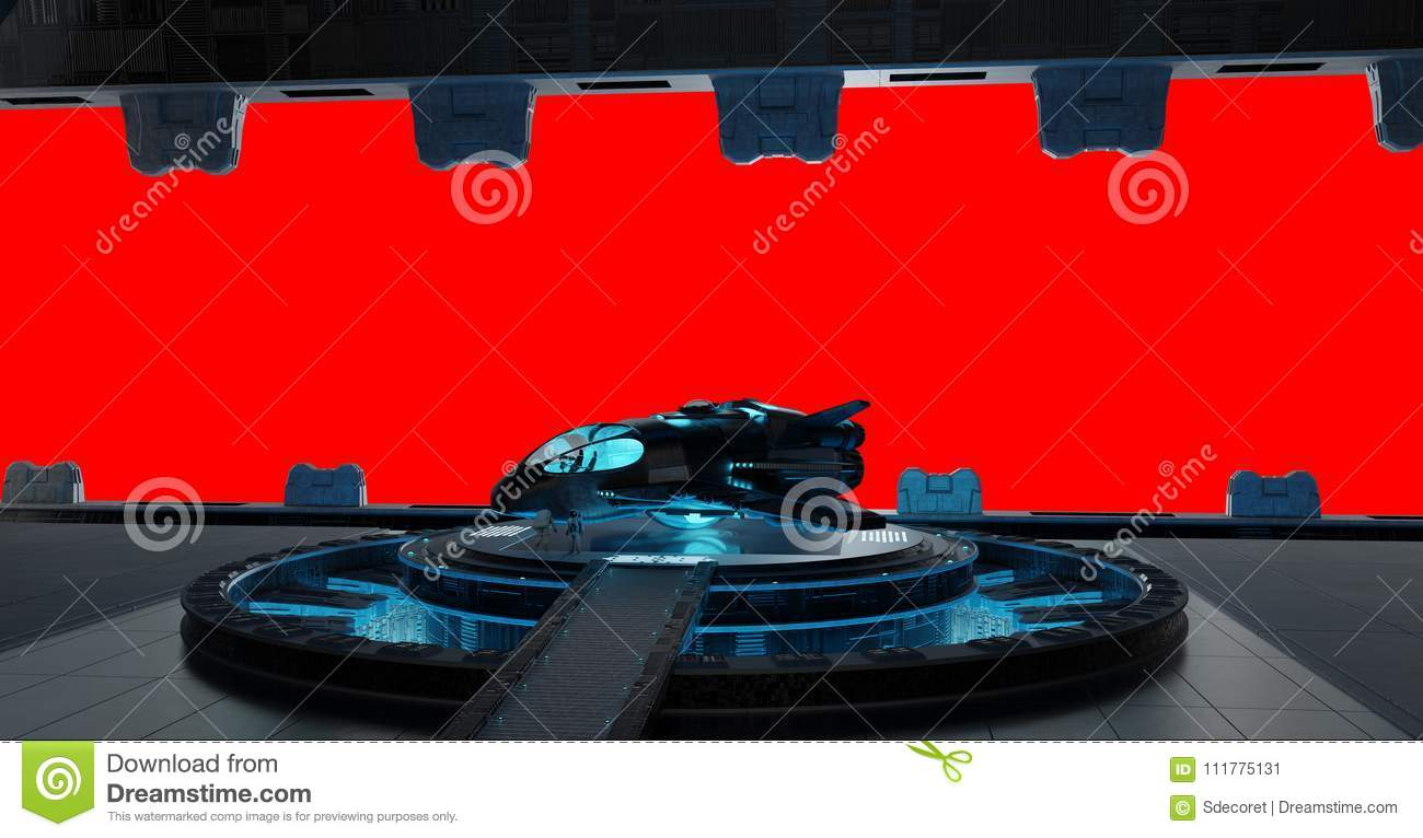 Llanding strip spaceship interior isolated on red background 3D