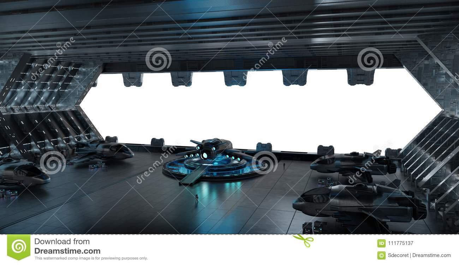 Llanding strip spaceship interior isolated on white background 3