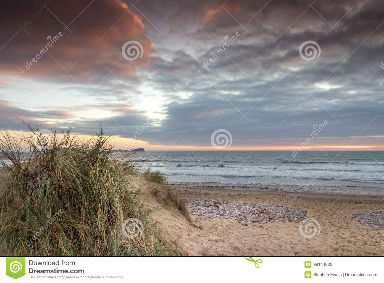 Llangennith Beach Gower With Worms Head View Stock Photo Image Of