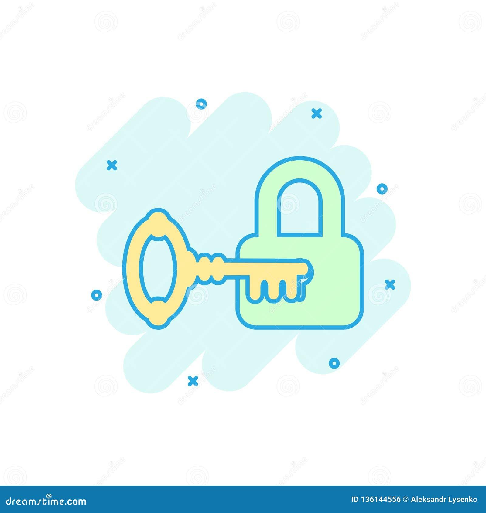 Llave con el icono del candado en estilo cómico Pictograma del ejemplo de la historieta del vector de la clave del acceso Chapote