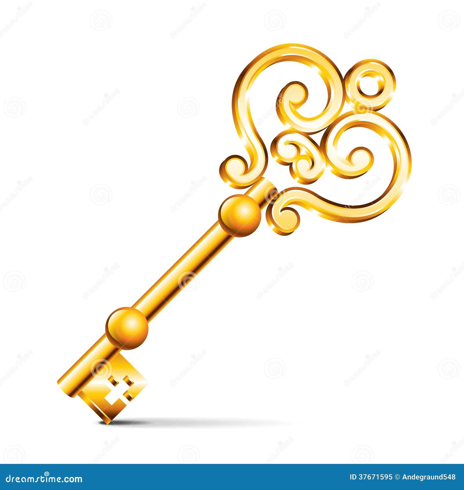 Llave de oro aislada en el vector blanco ilustraci n del - La llave del hogar ...