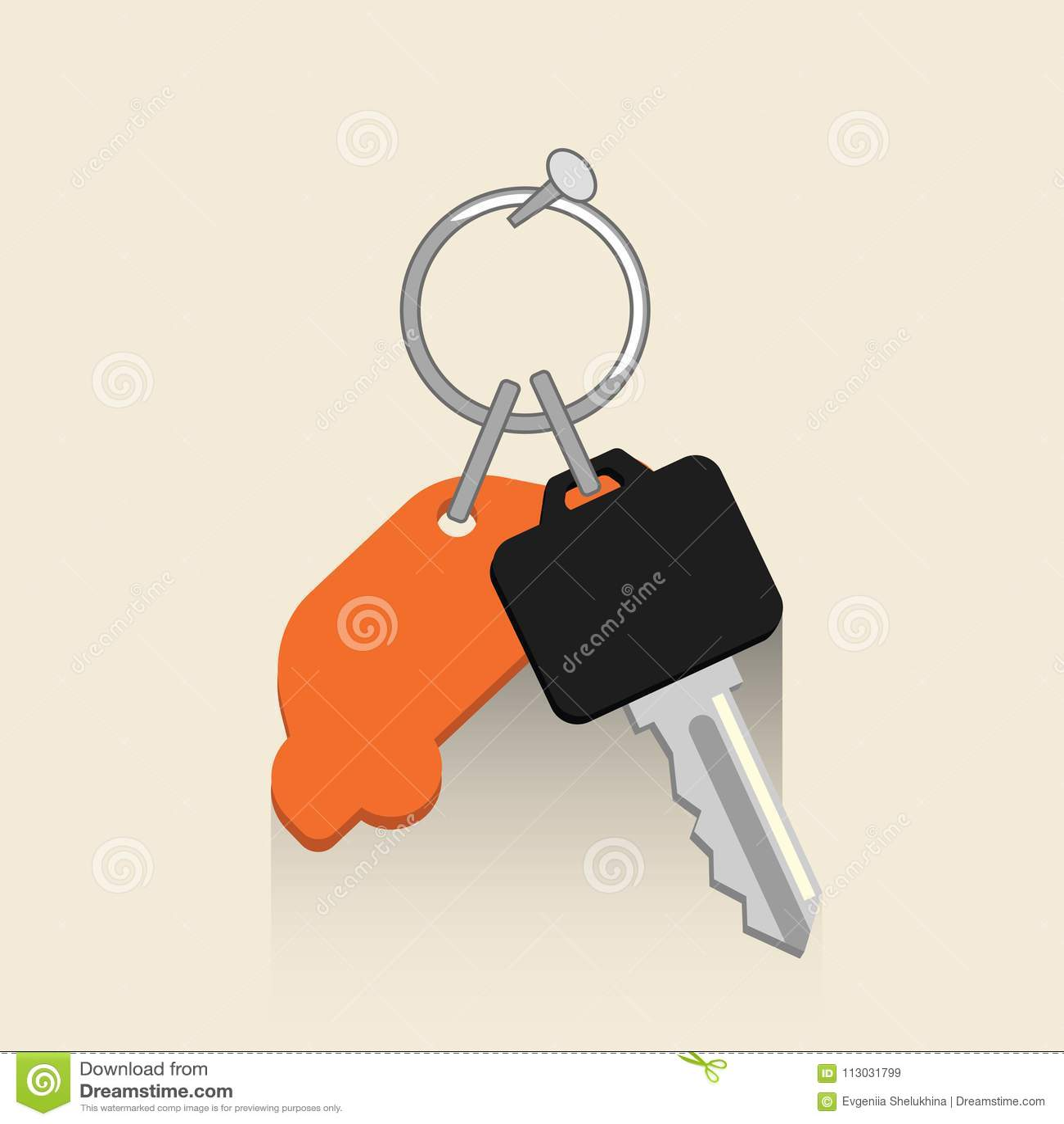 Llave del coche con el keyholder Concepto del vector del coche de alquiler