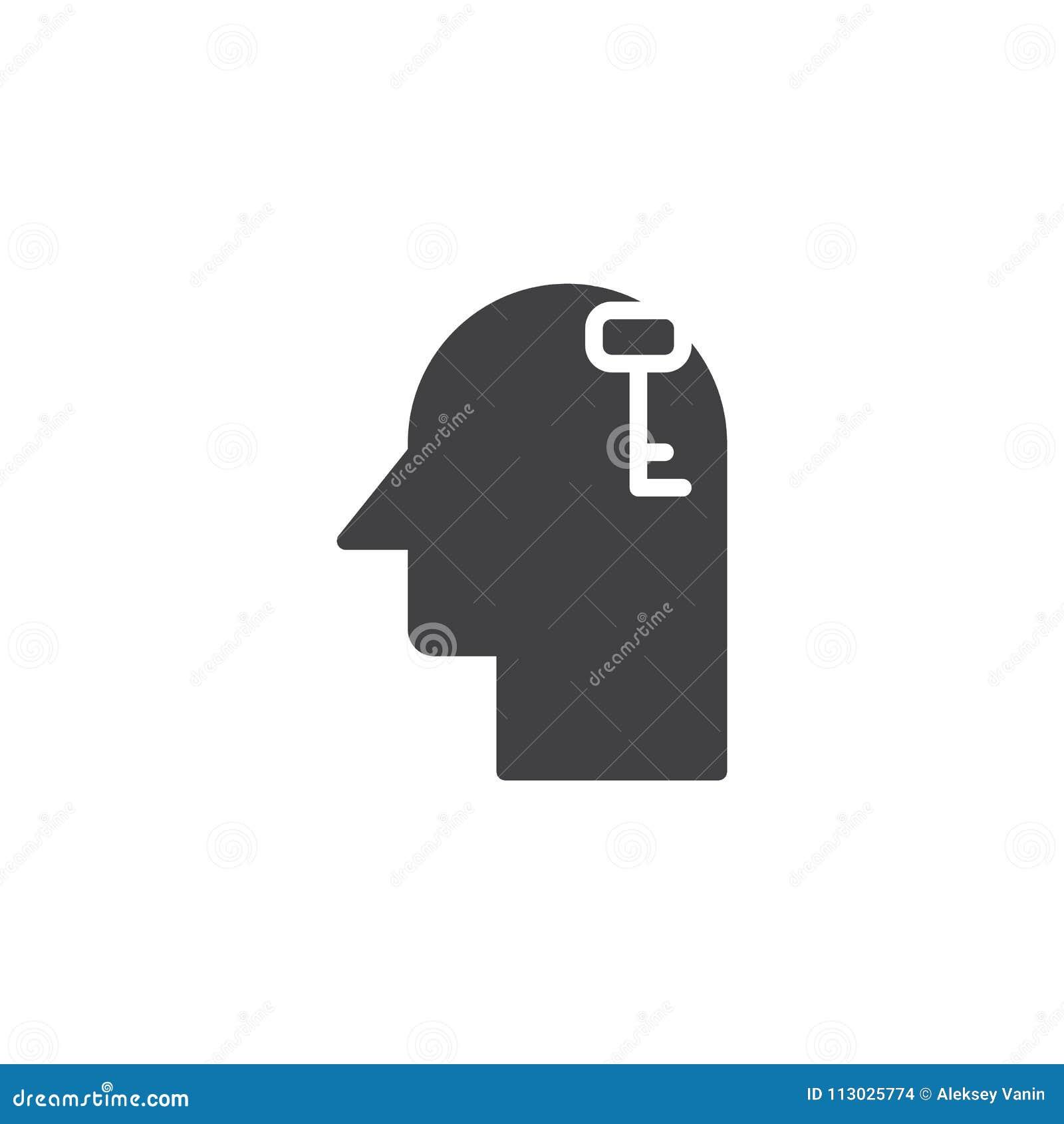 Llave en icono del vector de la cabeza humana