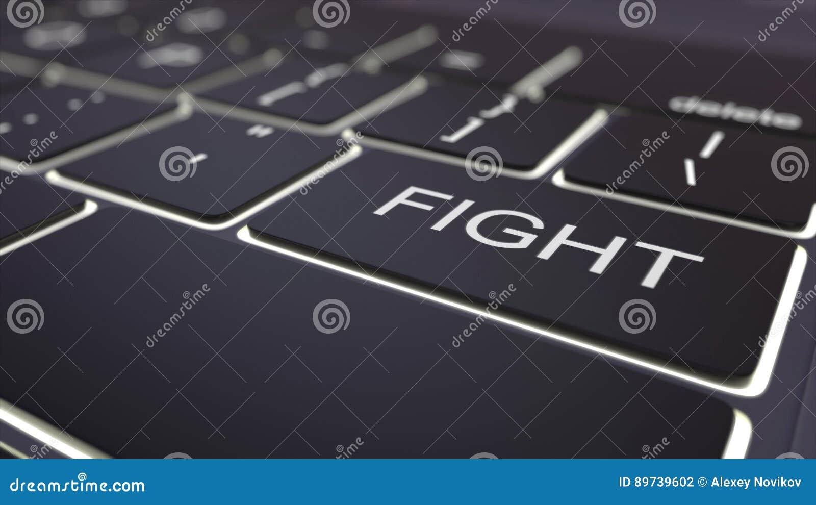 Llave luminosa negra del teclado y de la lucha de ordenador Representación conceptual 3d