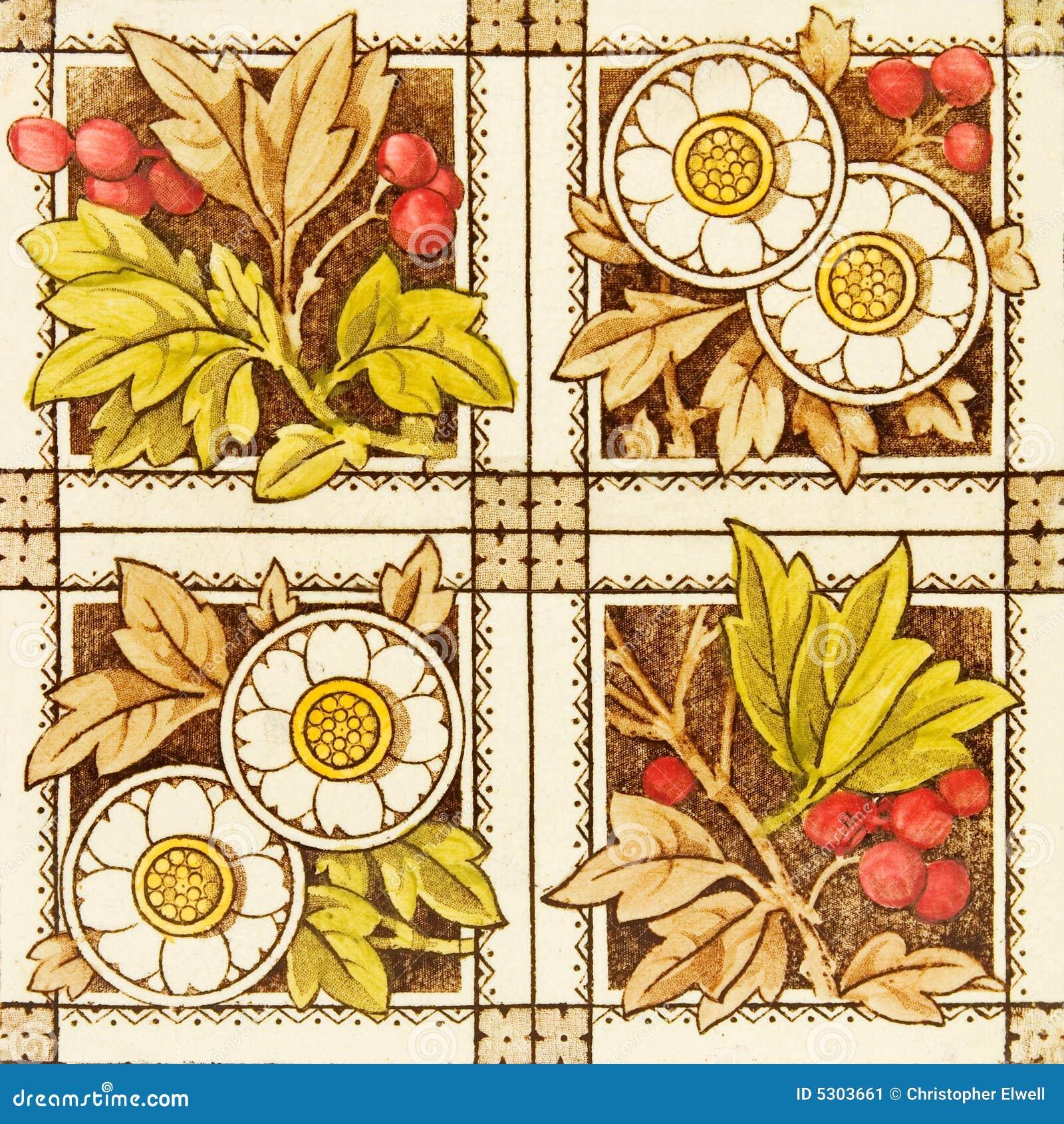 Download Lle Mattonelle Dei Quattro Comitati Immagine Stock - Immagine di terraglie, fiori: 5303661
