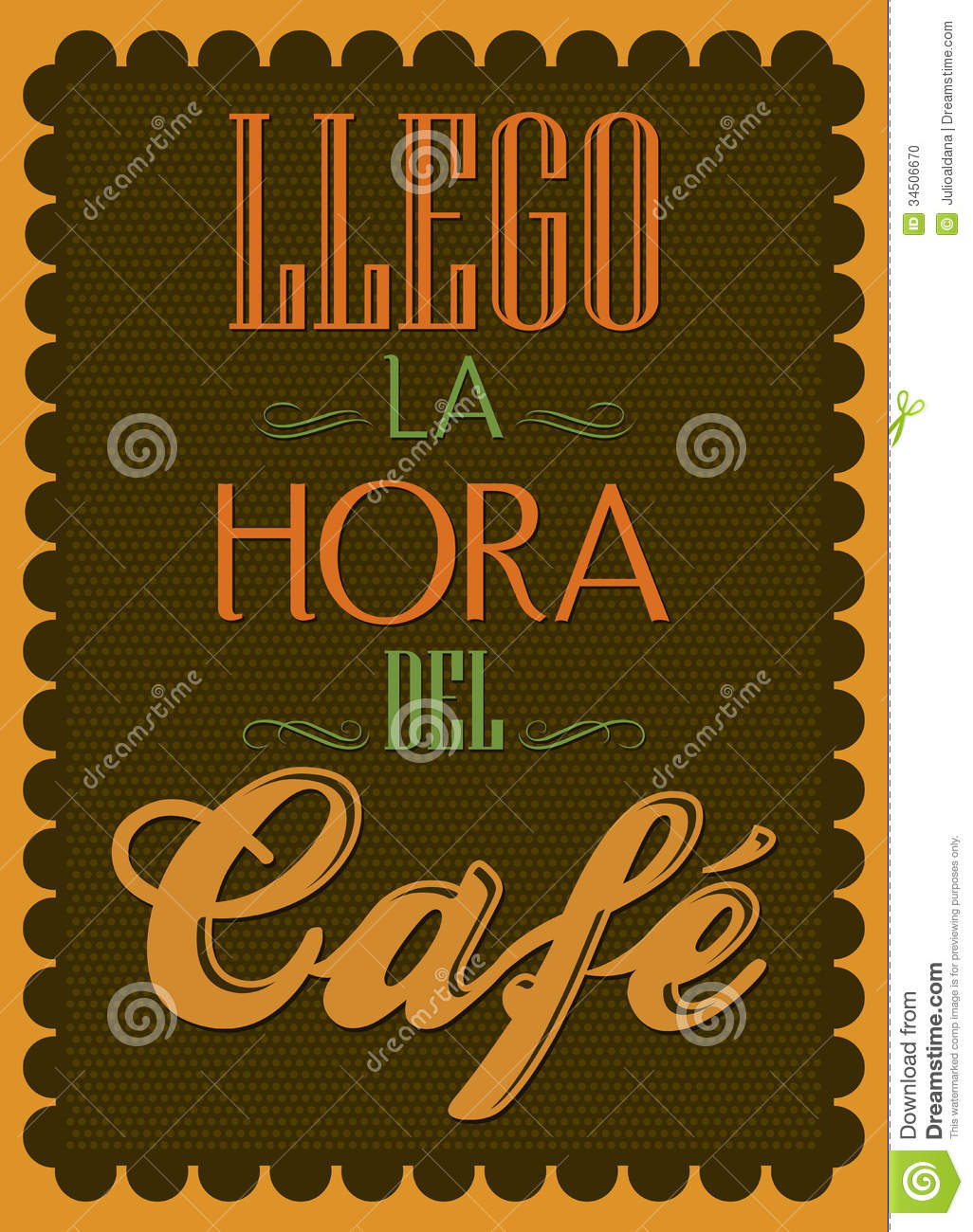 Llego La Hora Del Cafe It S Coffee Time Spanish Stock